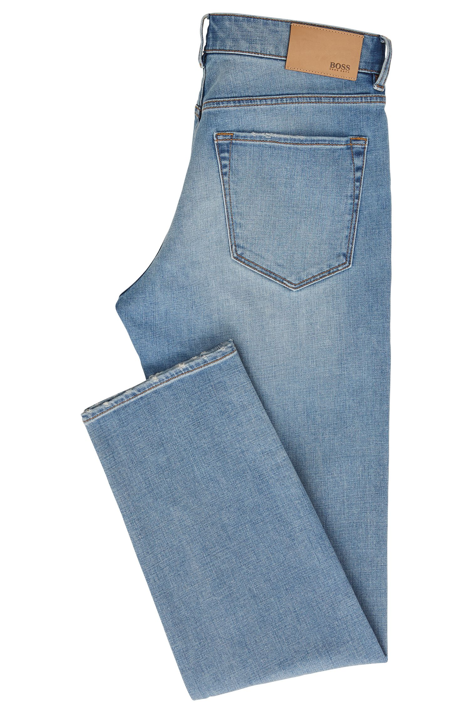 Regular-fit jeans in cross-weave stretch denim, Turquoise