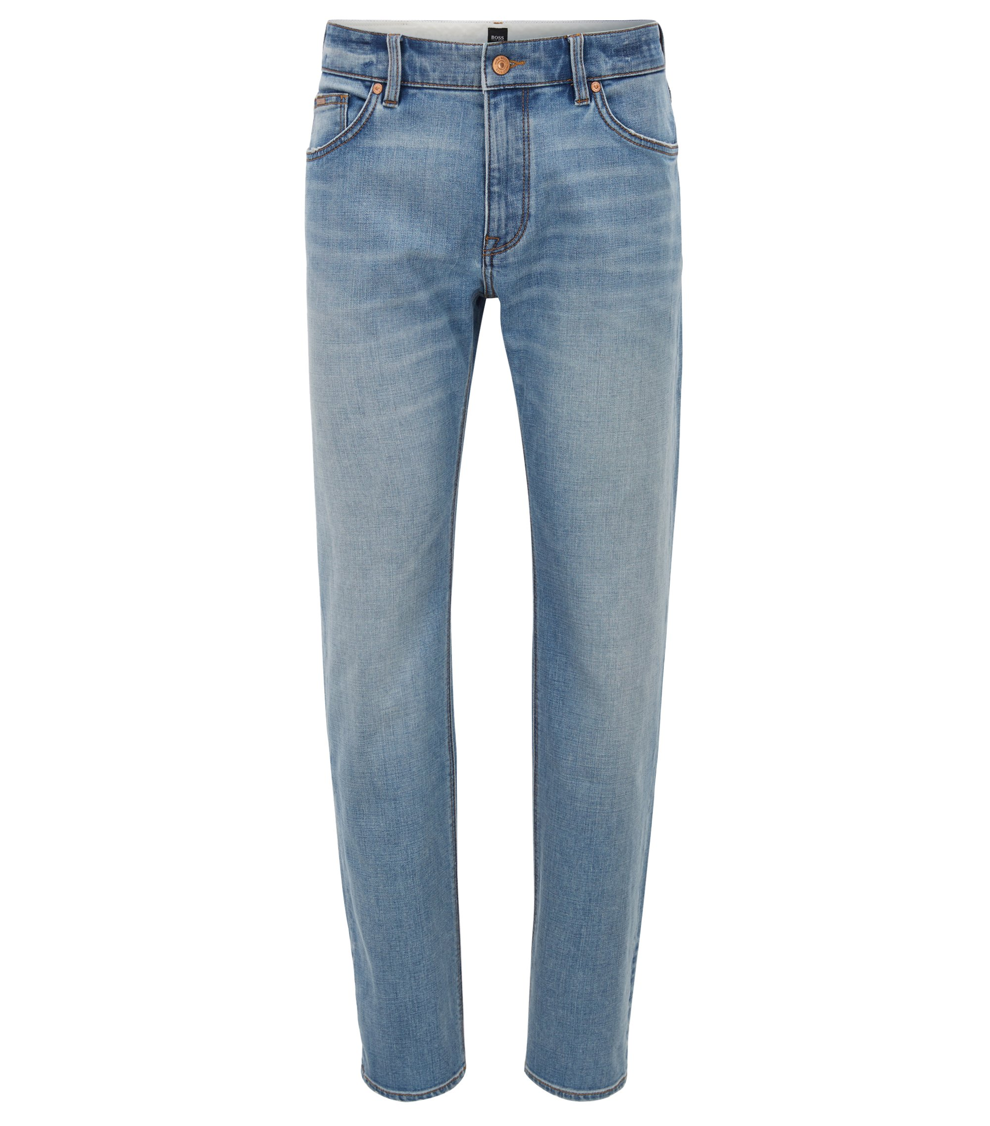 Jeans regular fit in denim elasticizzato a trama incrociata, Turchese