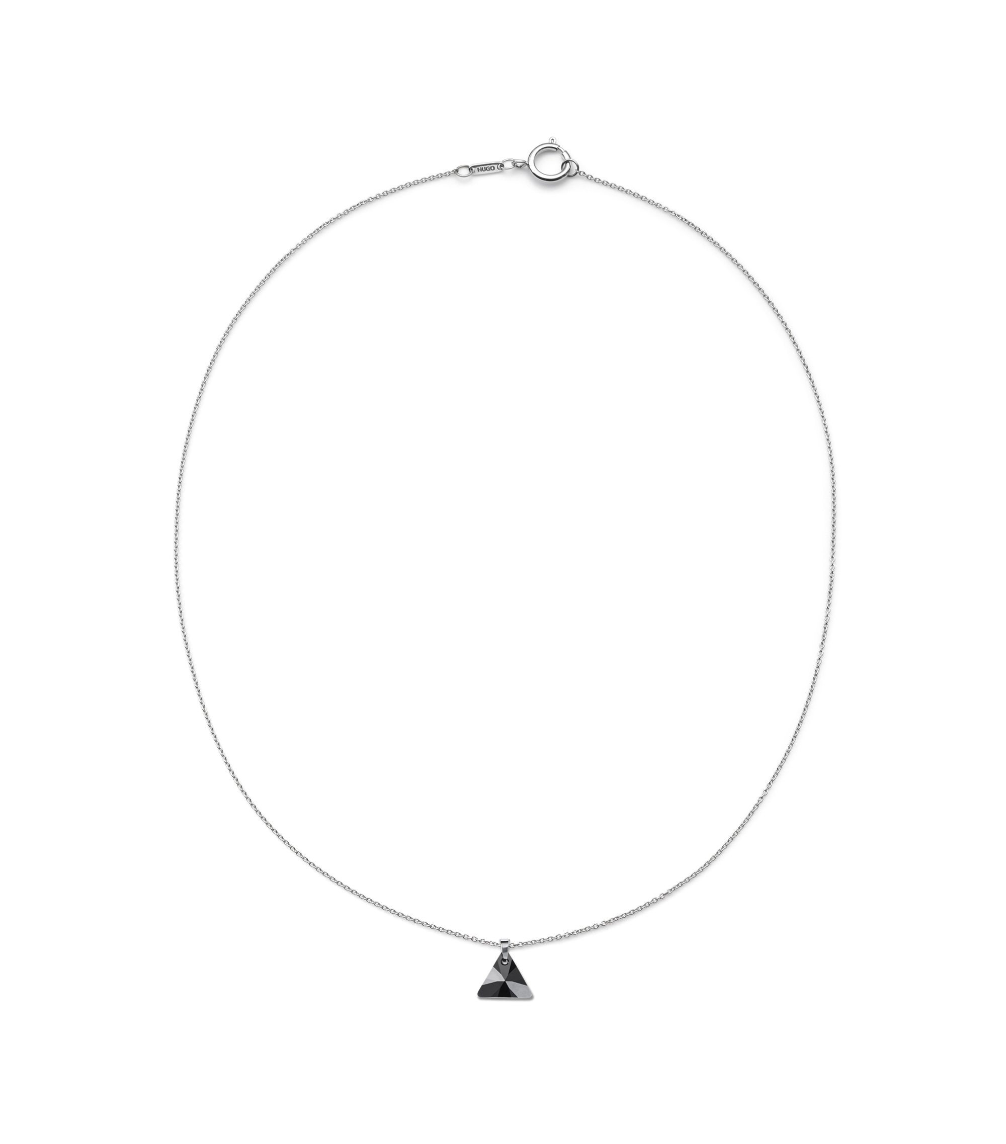 Halskette aus Edelstahl mit Glas-Anhänger, Silber