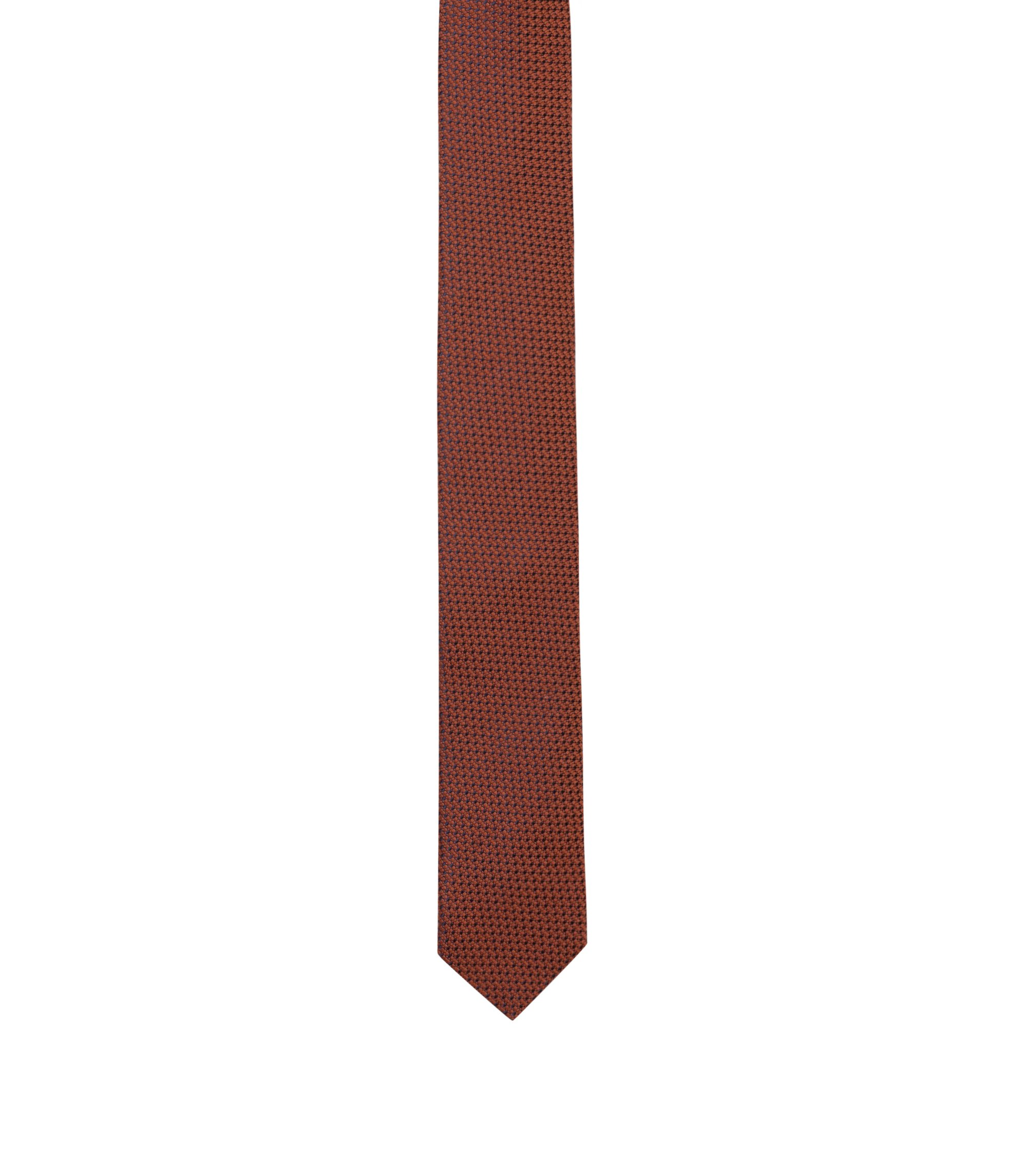 Micro-patterned tie in a wool-blend jacquard, Orange