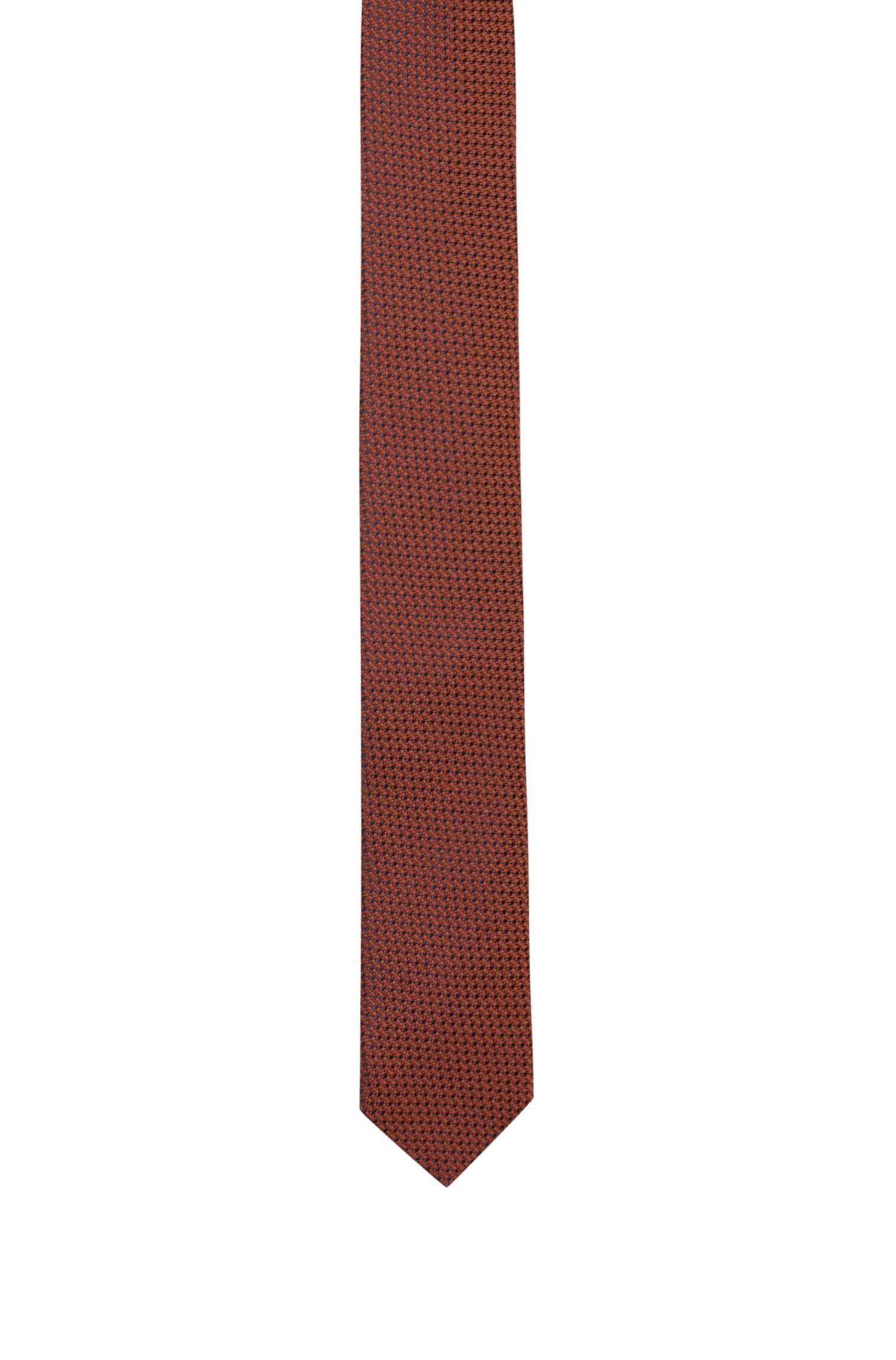 Cravate à micro-motif en jacquard de laine mélangée, Orange