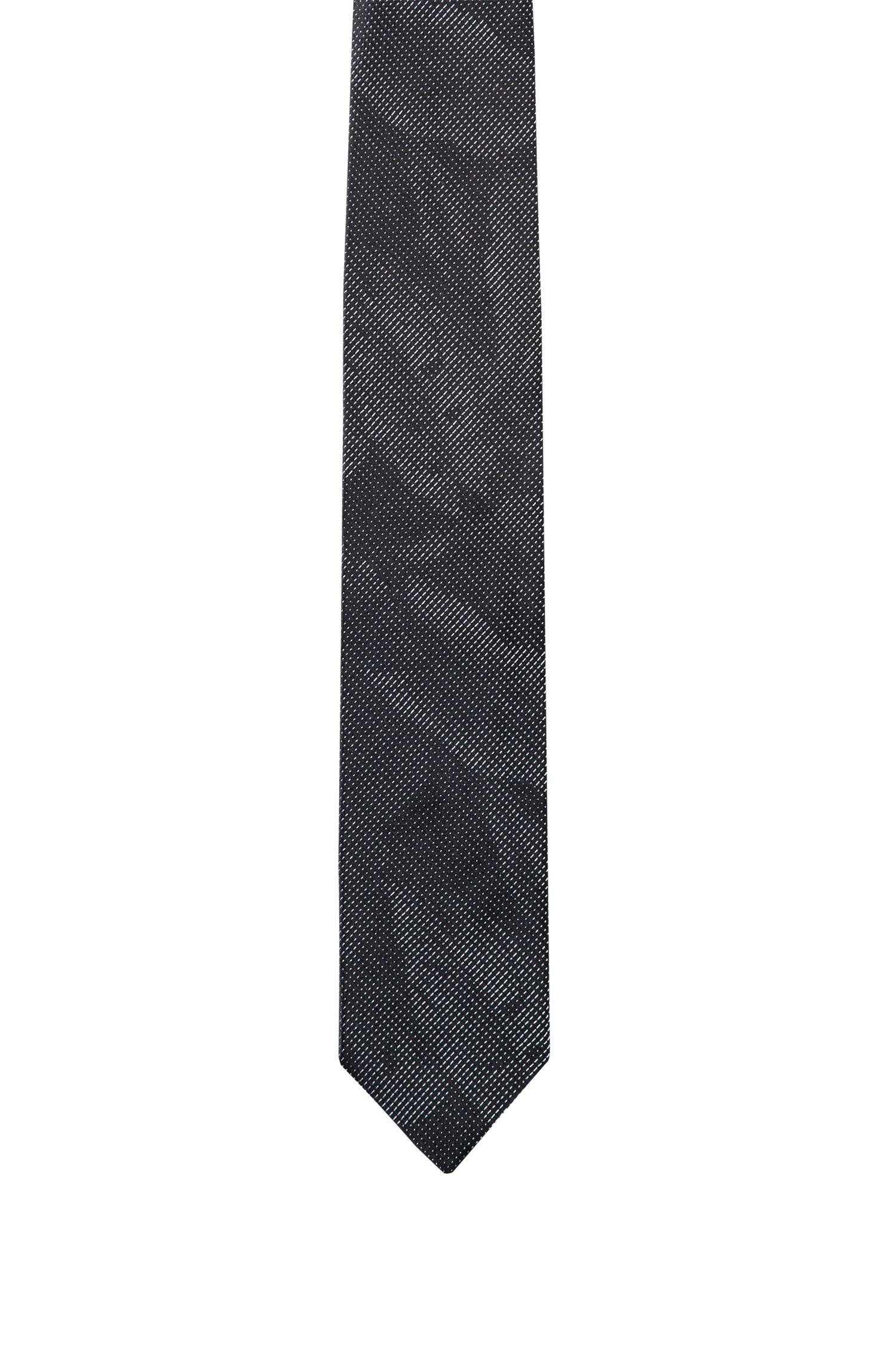 Leaf-patterned tie in silk jacquard
