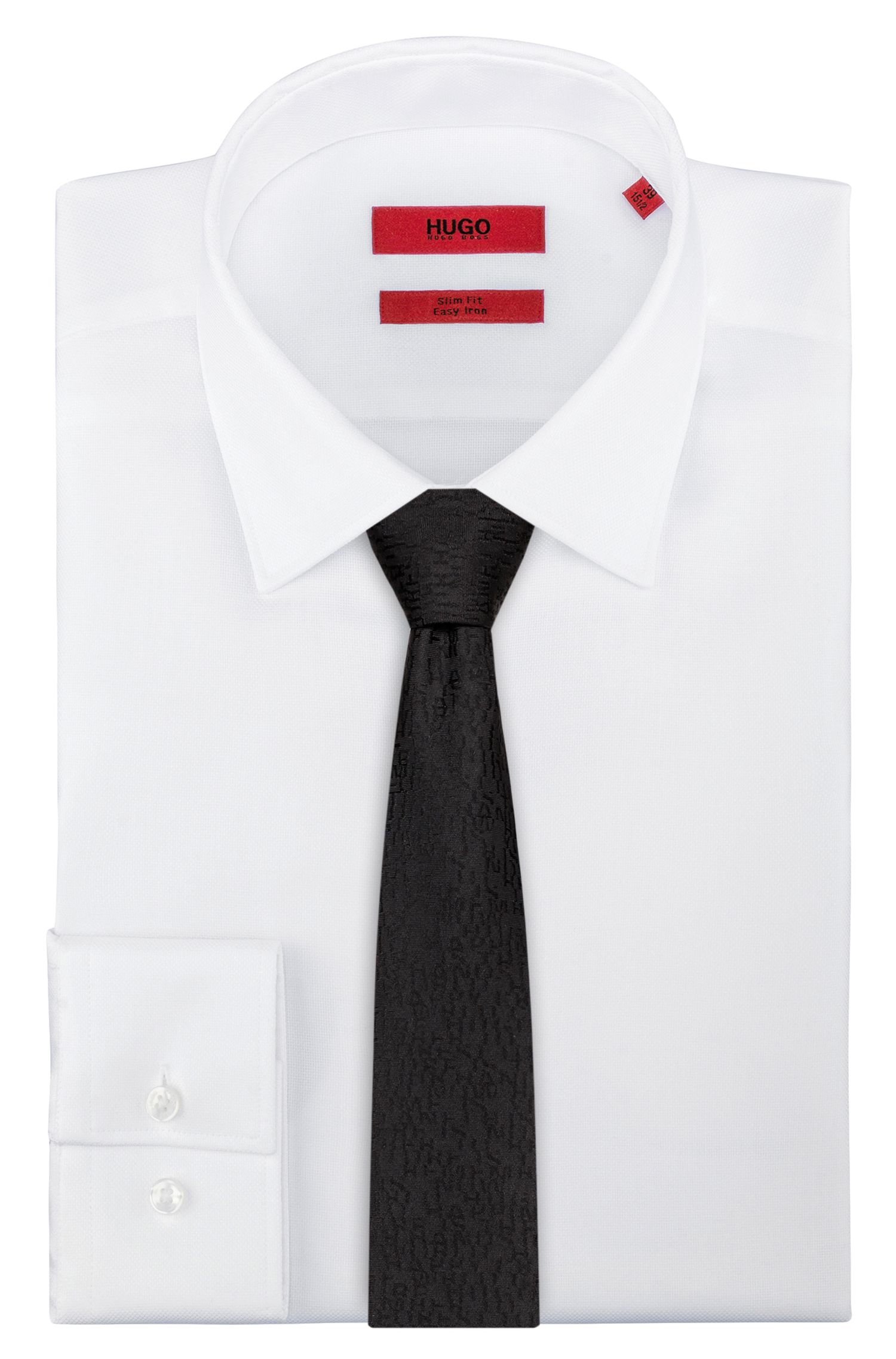 Silk-jacquard tie with logo detail, Black