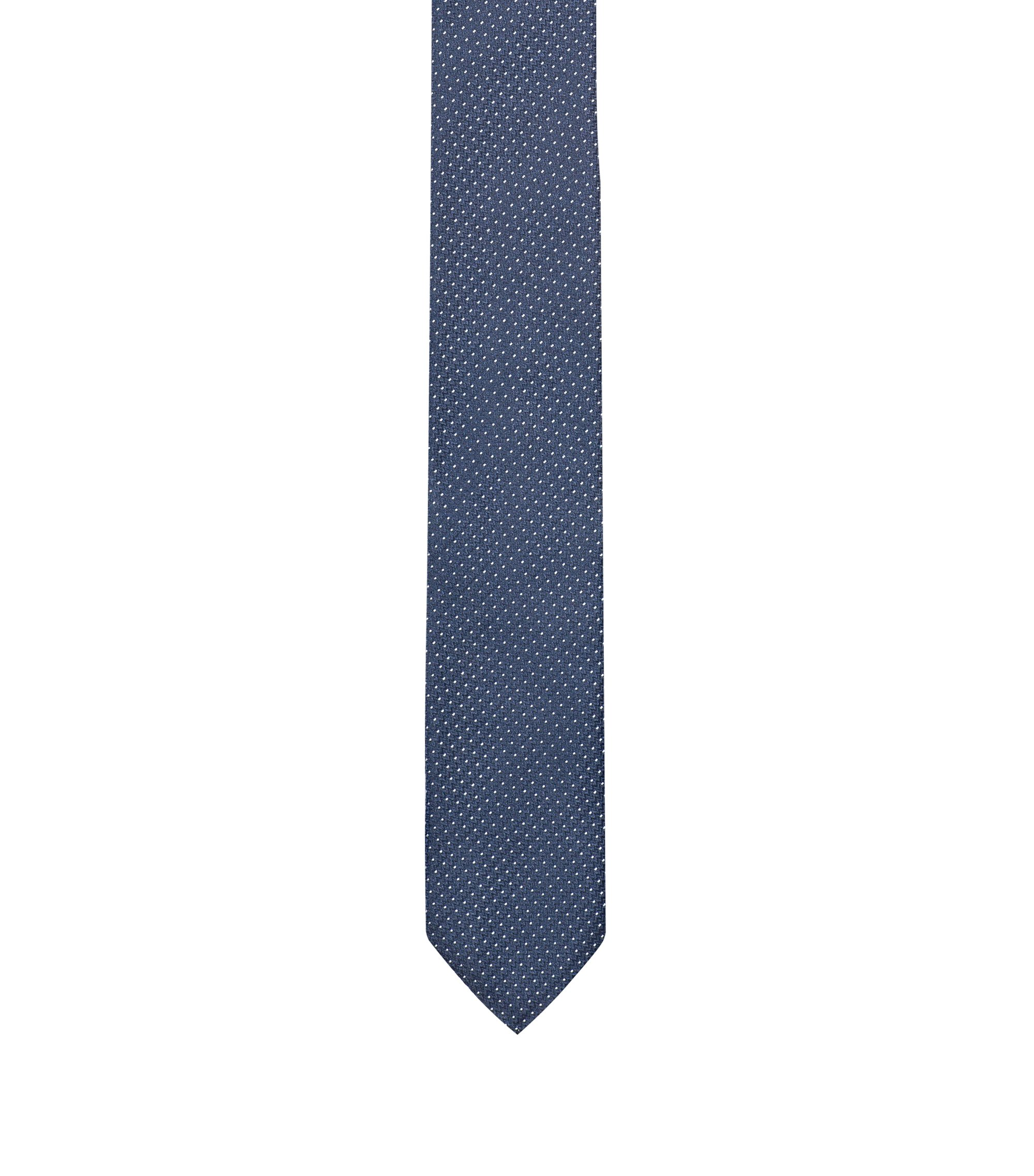 Silk-jacquard tie with micro dots, Dark Blue