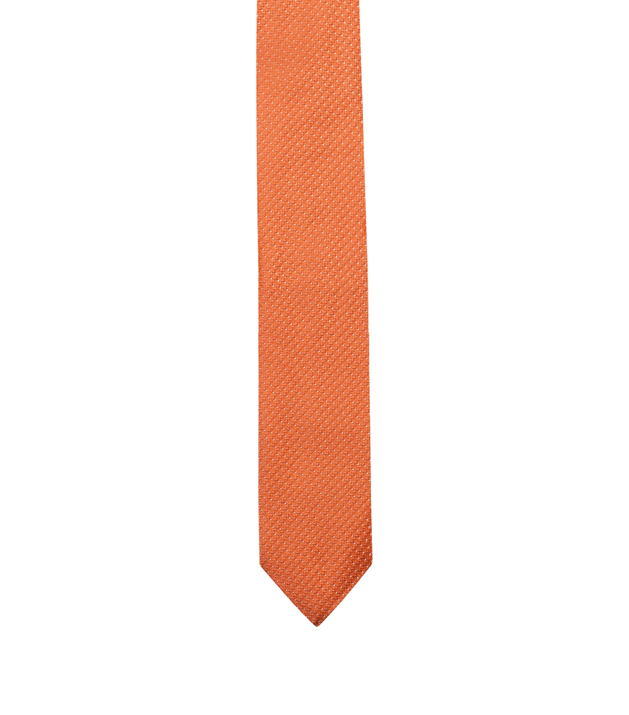 Silk-jacquard tie with micro dots, Orange