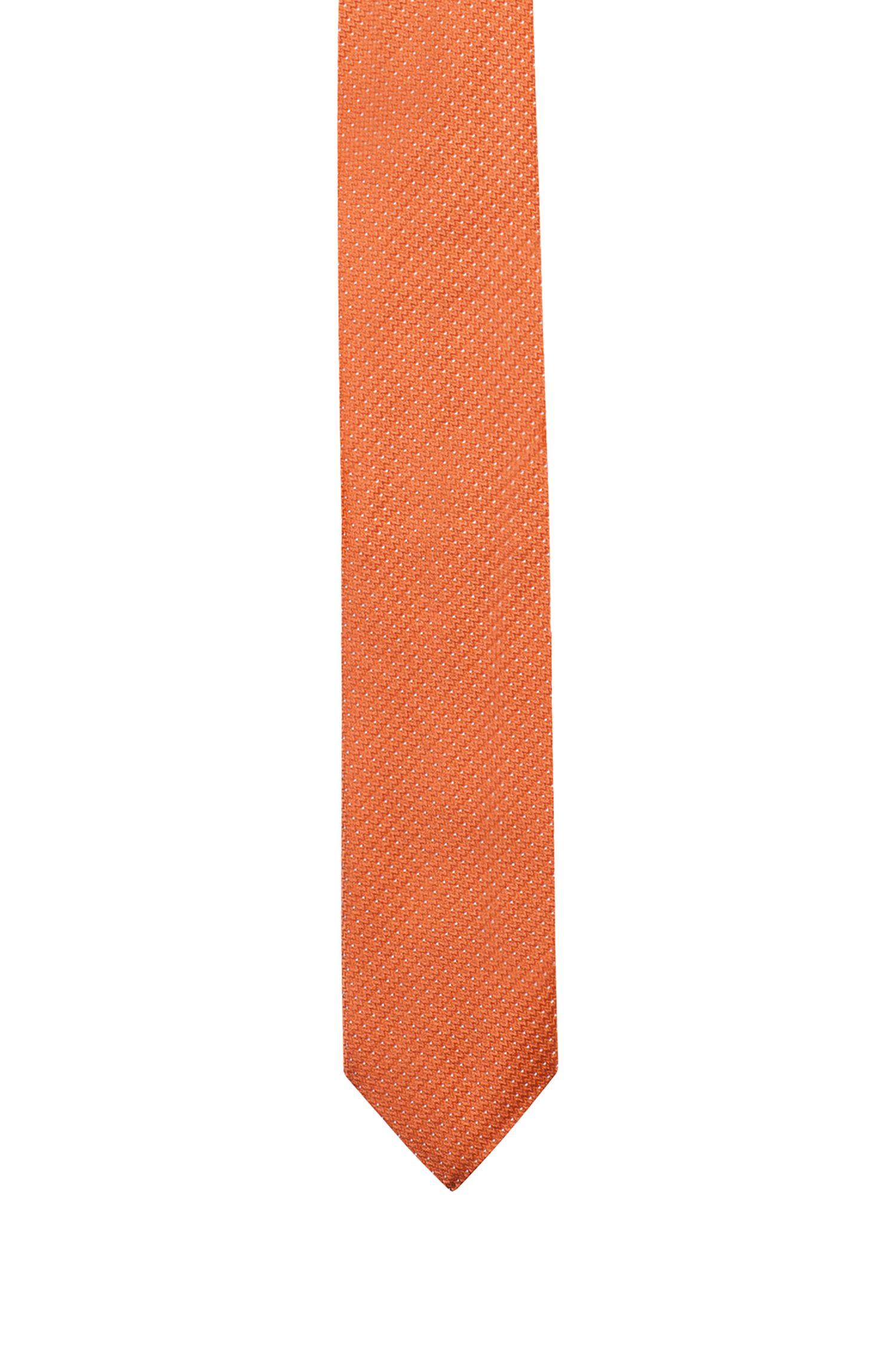 Krawatte aus Seiden-Jacquard mit filigranen Punkten, Orange