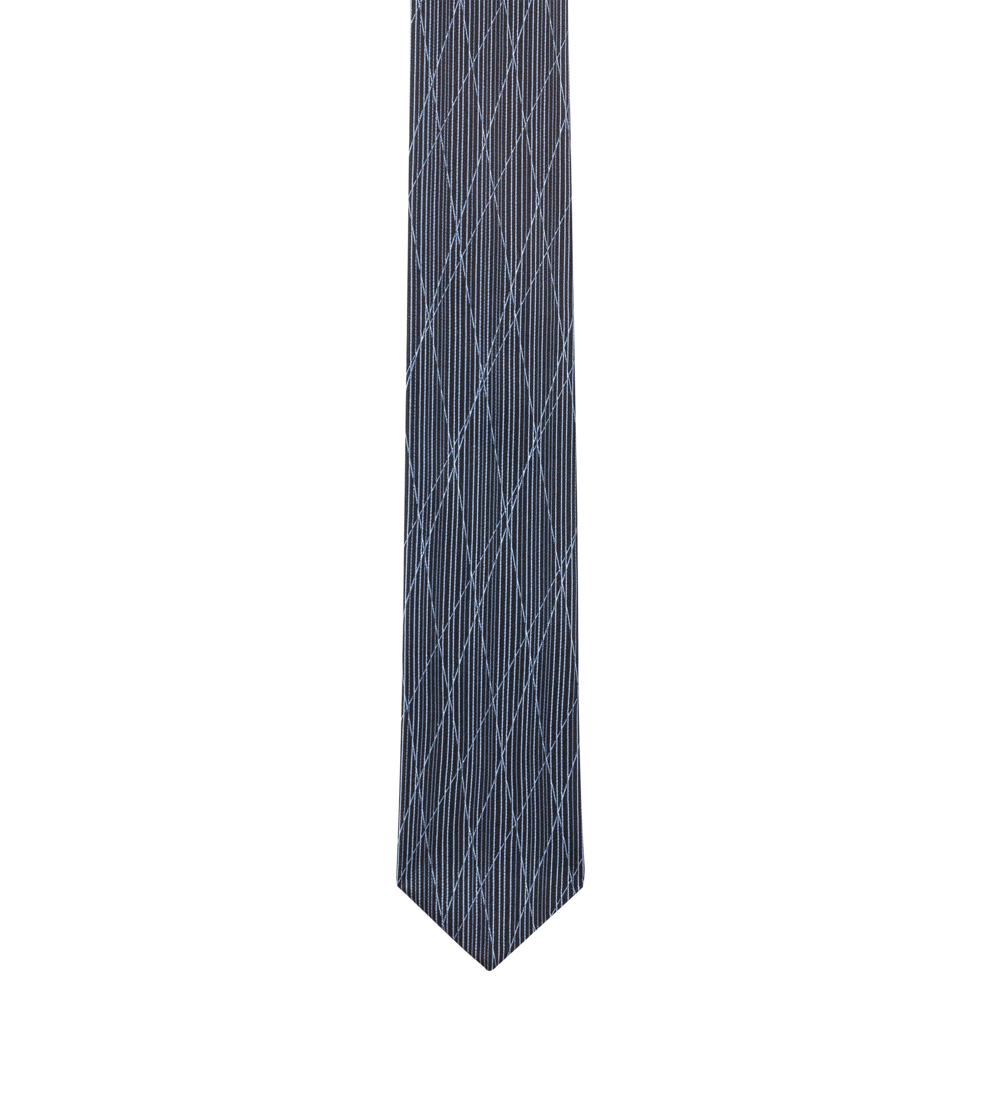 Silk-jacquard tie with criss-cross pattern, Light Blue