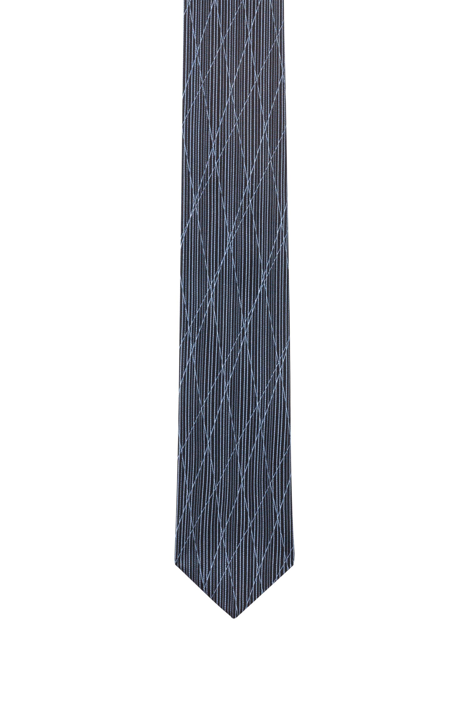 Silk-jacquard tie with criss-cross pattern