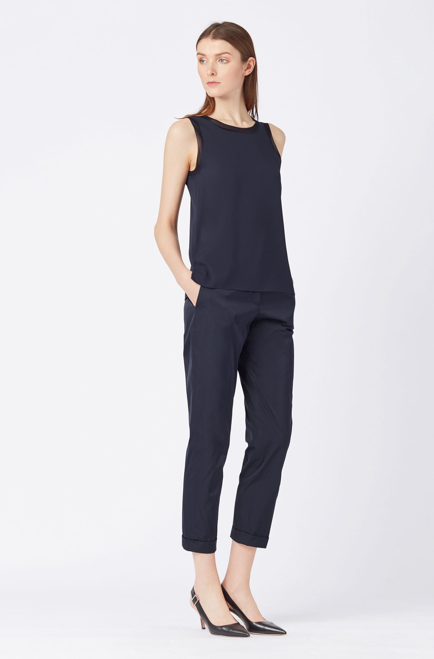 Sleeveless top in stretch silk with knitted details, Dark Blue