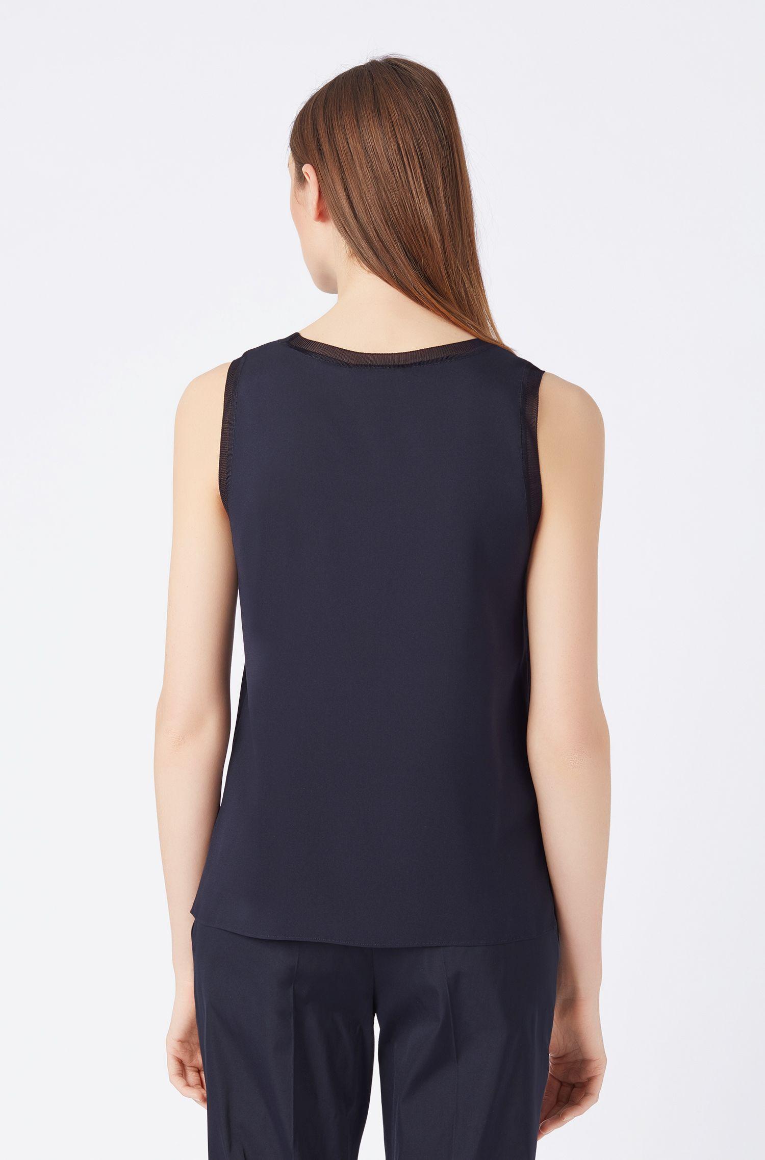 Mouwloze top van zijde met stretch en gebreide details, Donkerblauw