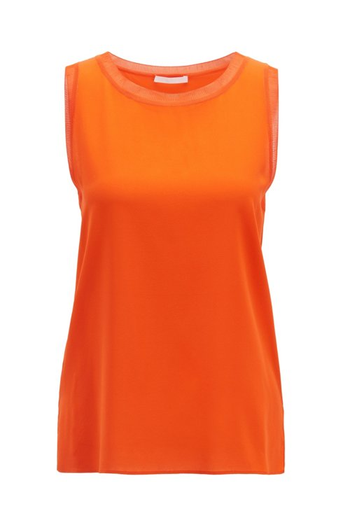 Hugo Boss - Sleeveless top in stretch silk with knitted details - 1