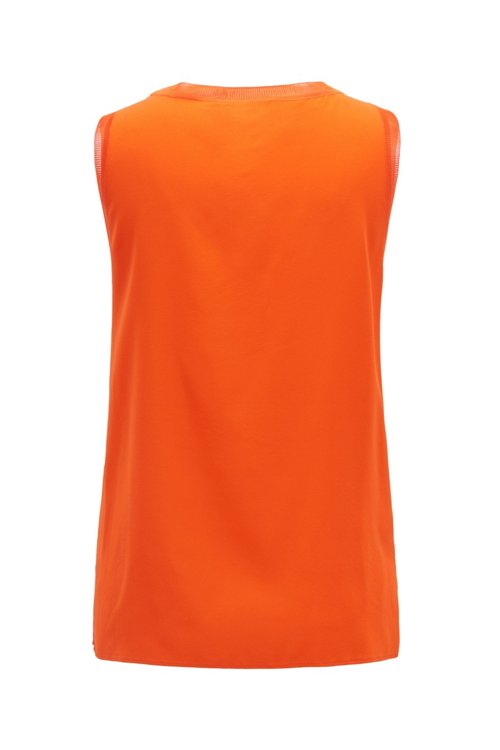 Hugo Boss - Sleeveless top in stretch silk with knitted details - 4