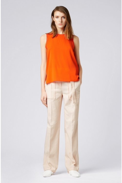 Hugo Boss - Sleeveless top in stretch silk with knitted details - 2