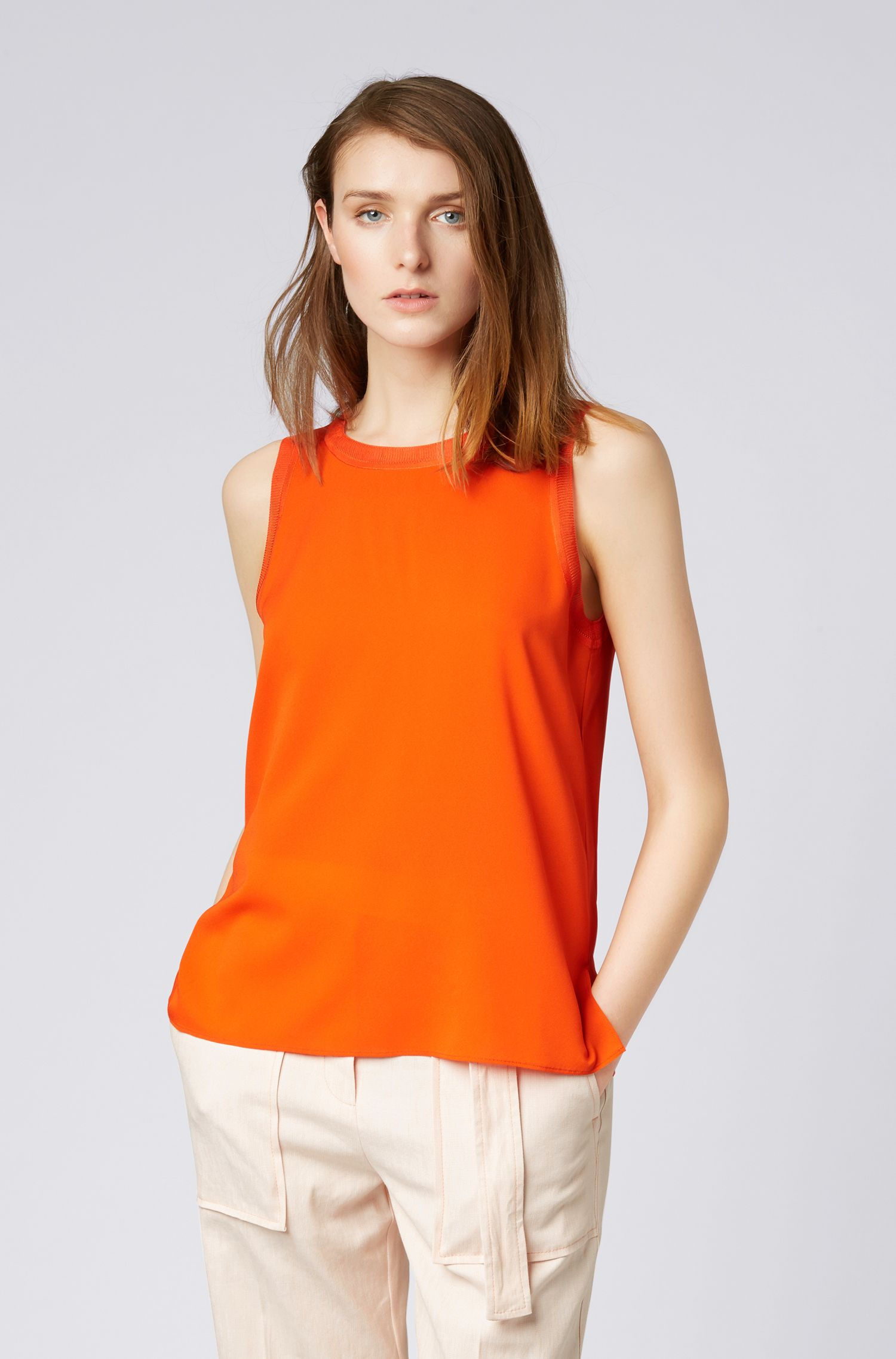 Sleeveless top in stretch silk with knitted details, Red
