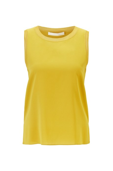 Sleeveless top in stretch silk with knitted details, Dark Yellow