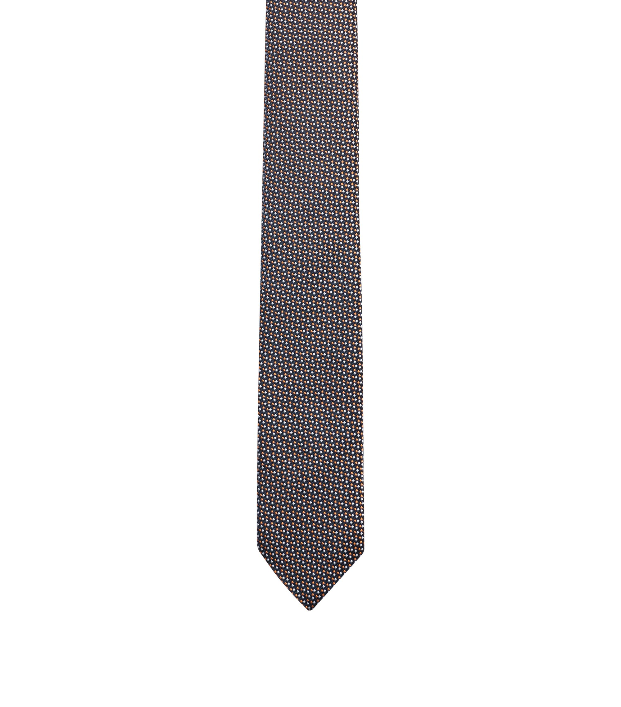 Silk-jacquard tie with micro structure, Orange