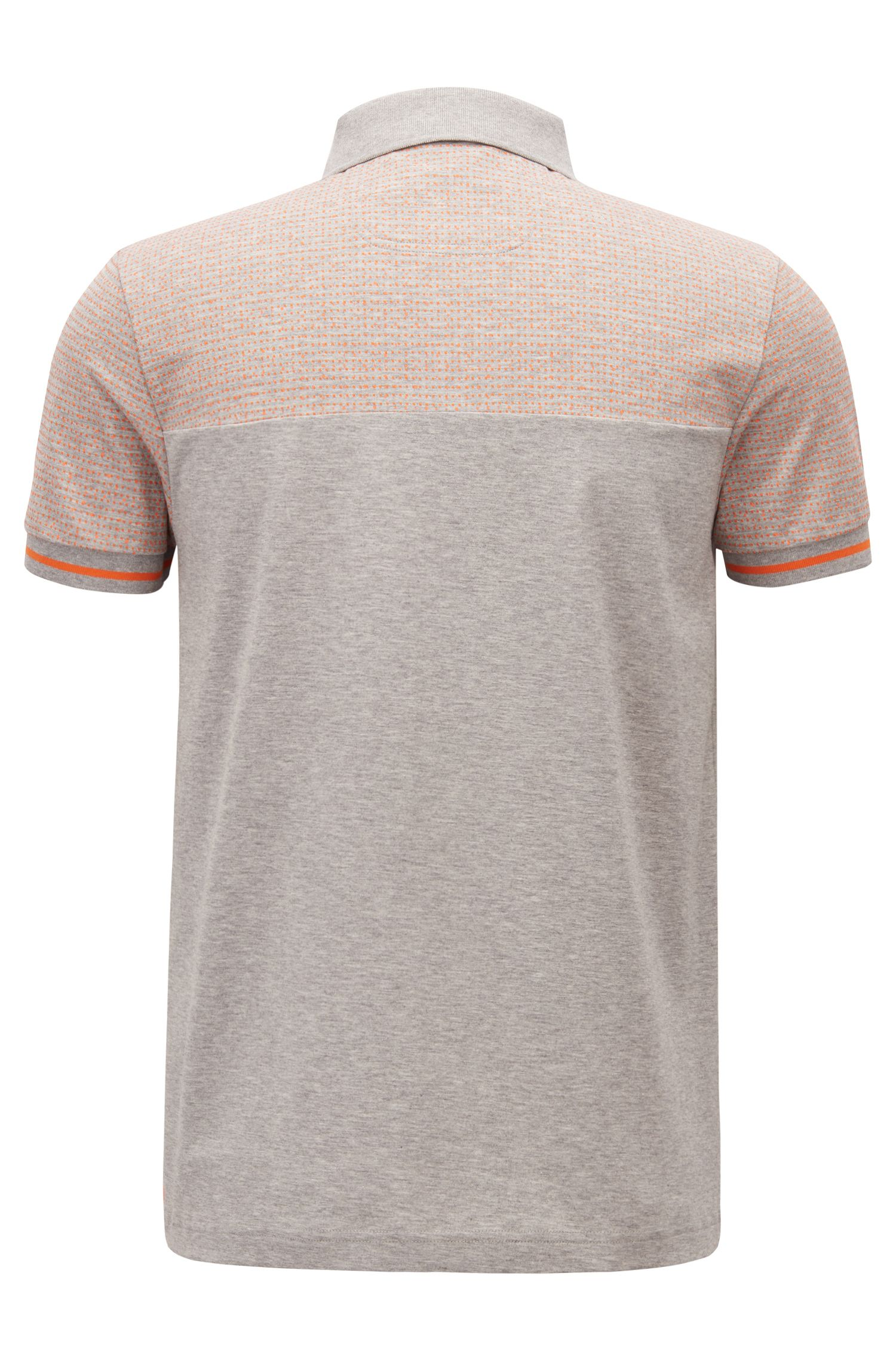 Polo slim fit en algodón jaspeado con bloques de color, Gris claro