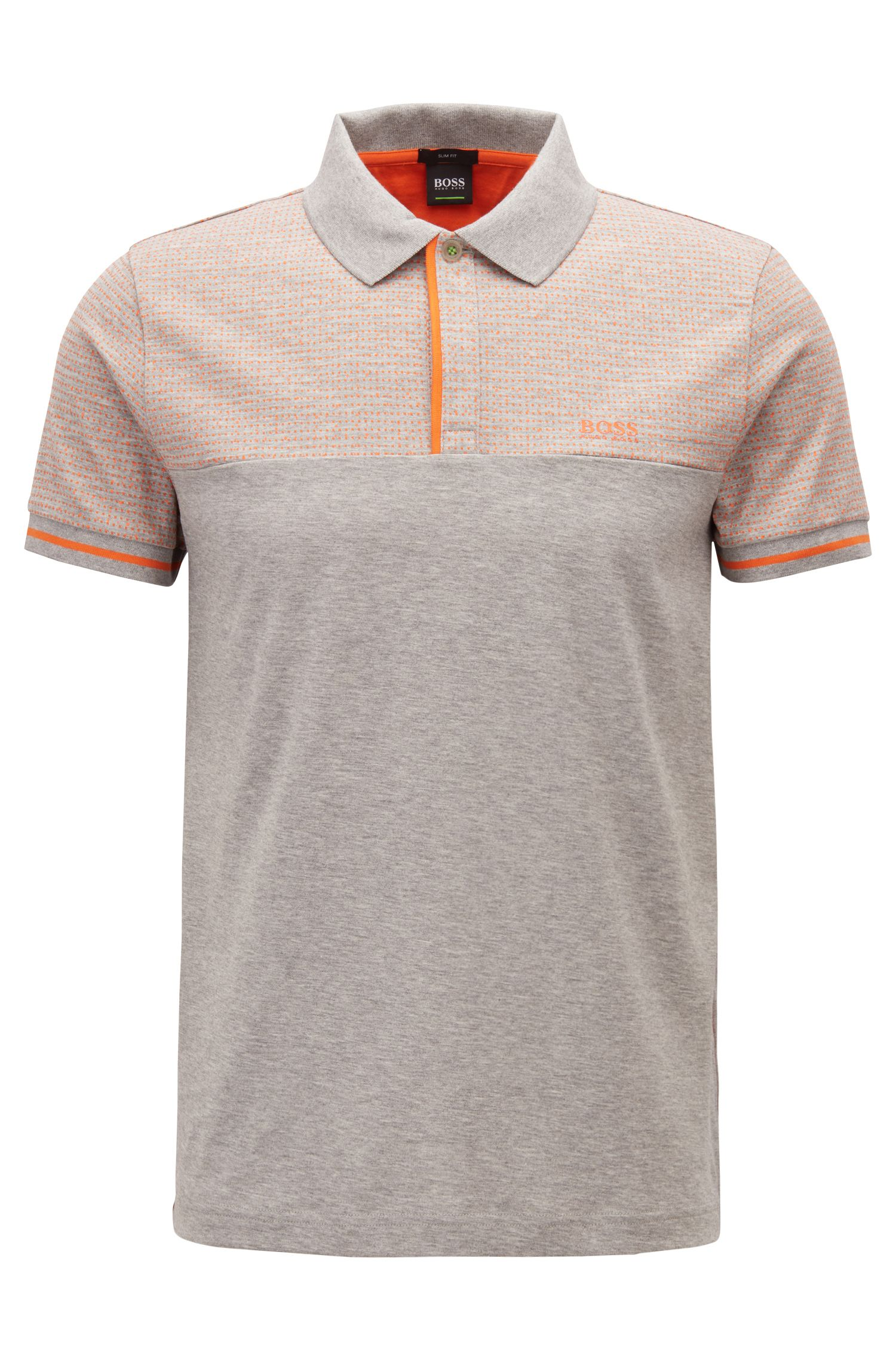 Slim-fit polo shirt in colour-block heathered cotton, Light Grey