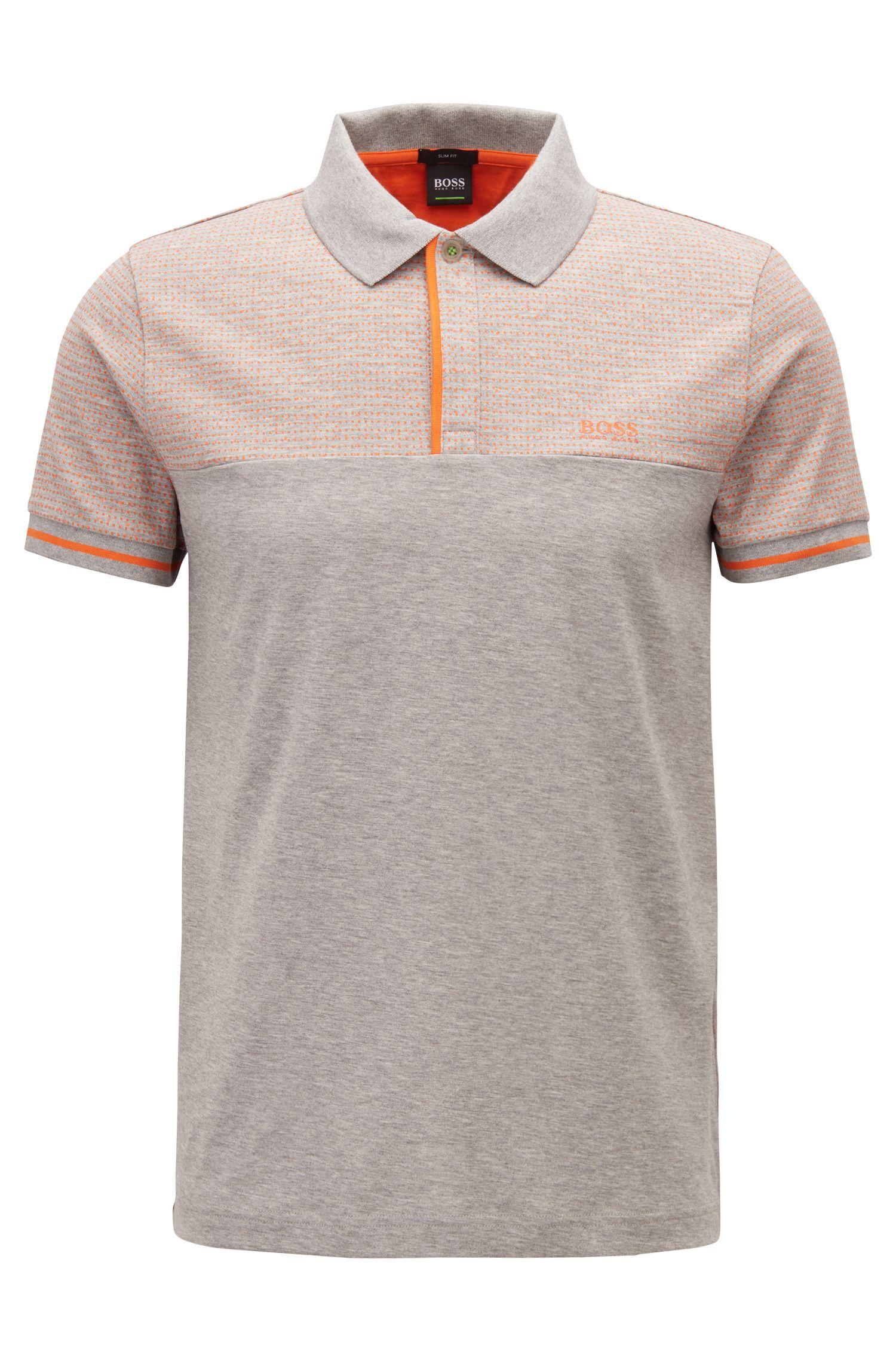 Meliertes Poloshirt aus Baumwolle im Colour-Block-Design