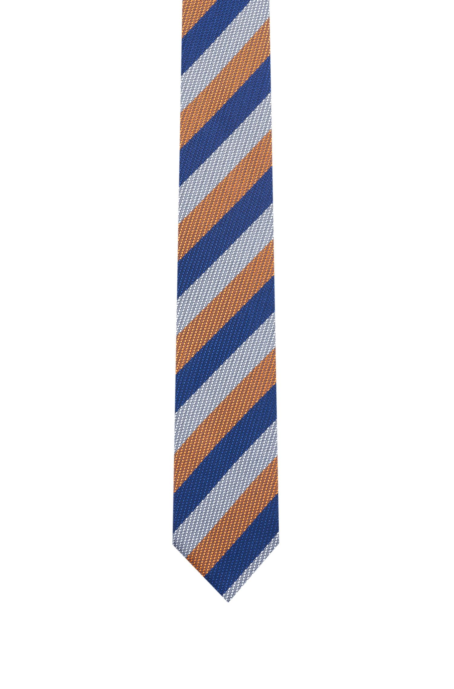 Silk-jacquard tie with diagonal stripes, Orange