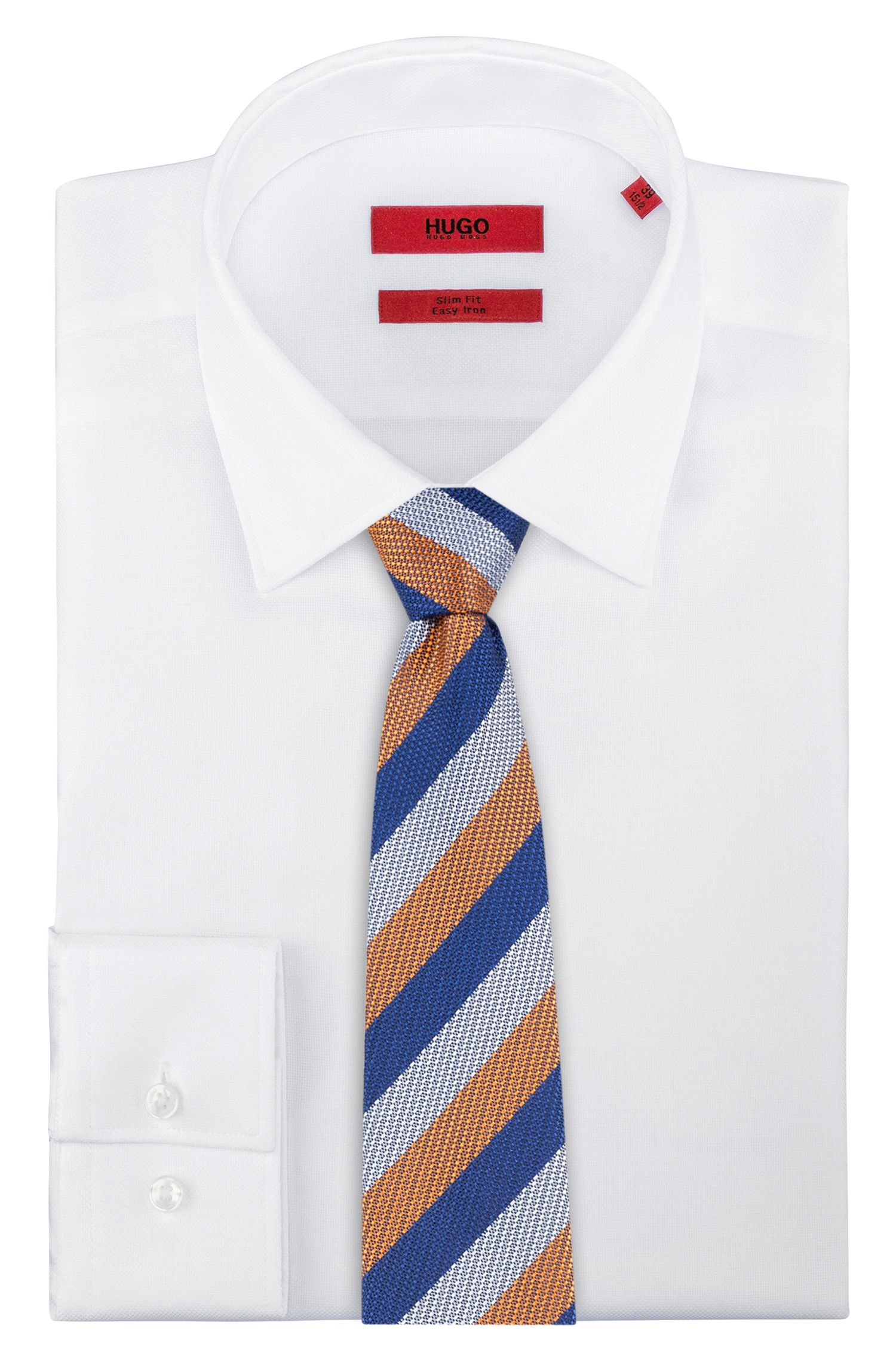 Silk-jacquard tie with diagonal stripes