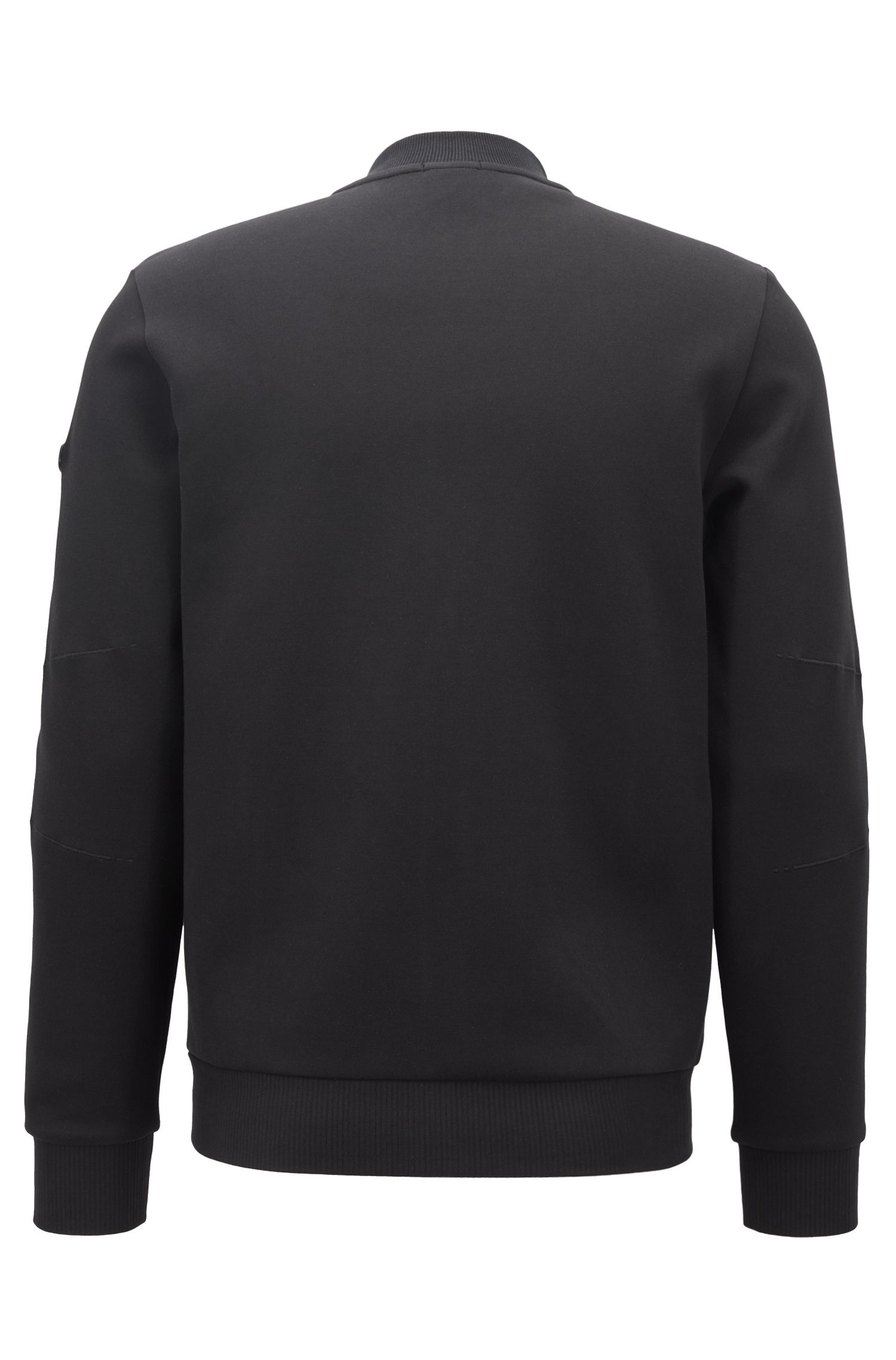 Stretch-cotton bomber-style sweatshirt with contrast front, Black