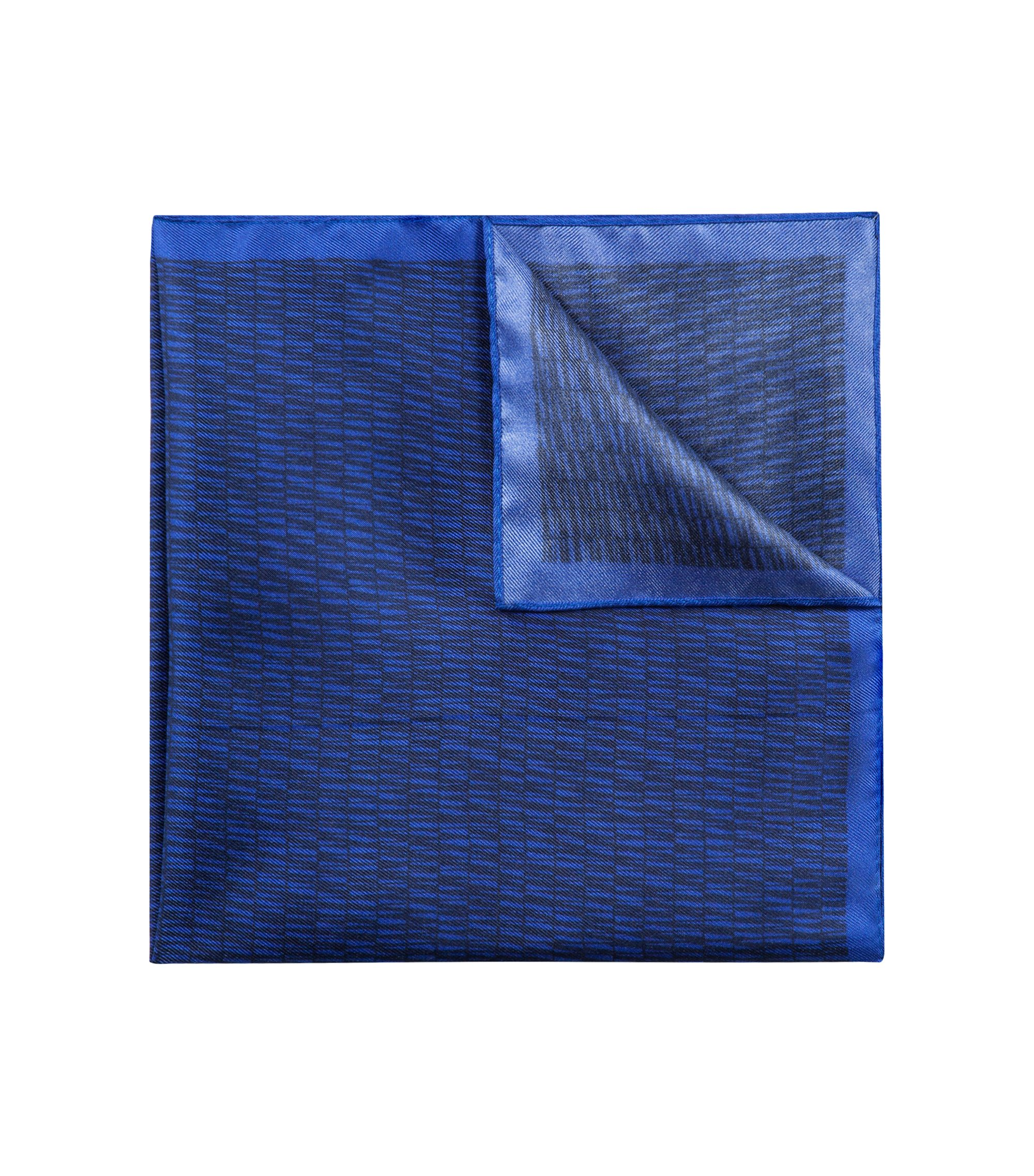 Silk pocket square with striped print, Dark Blue