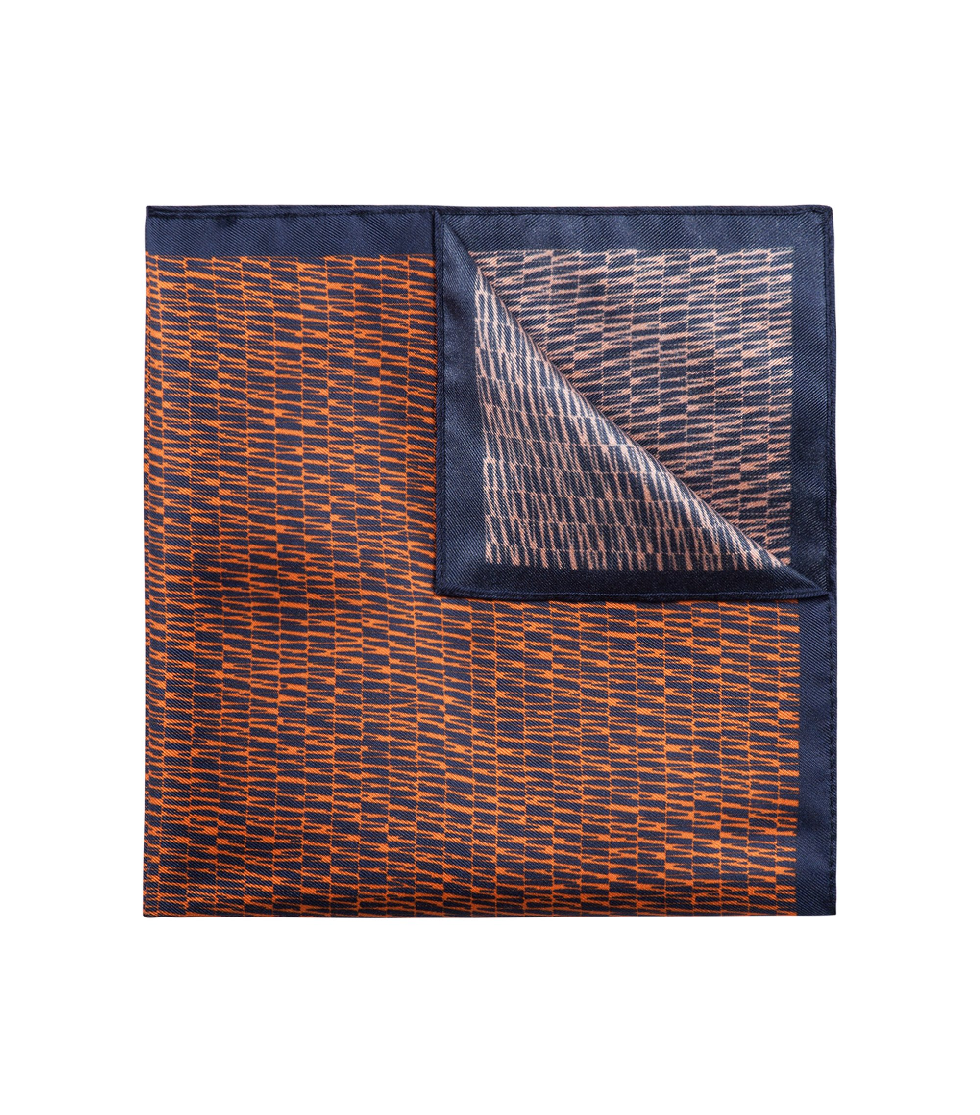 Silk pocket square with striped print, Orange