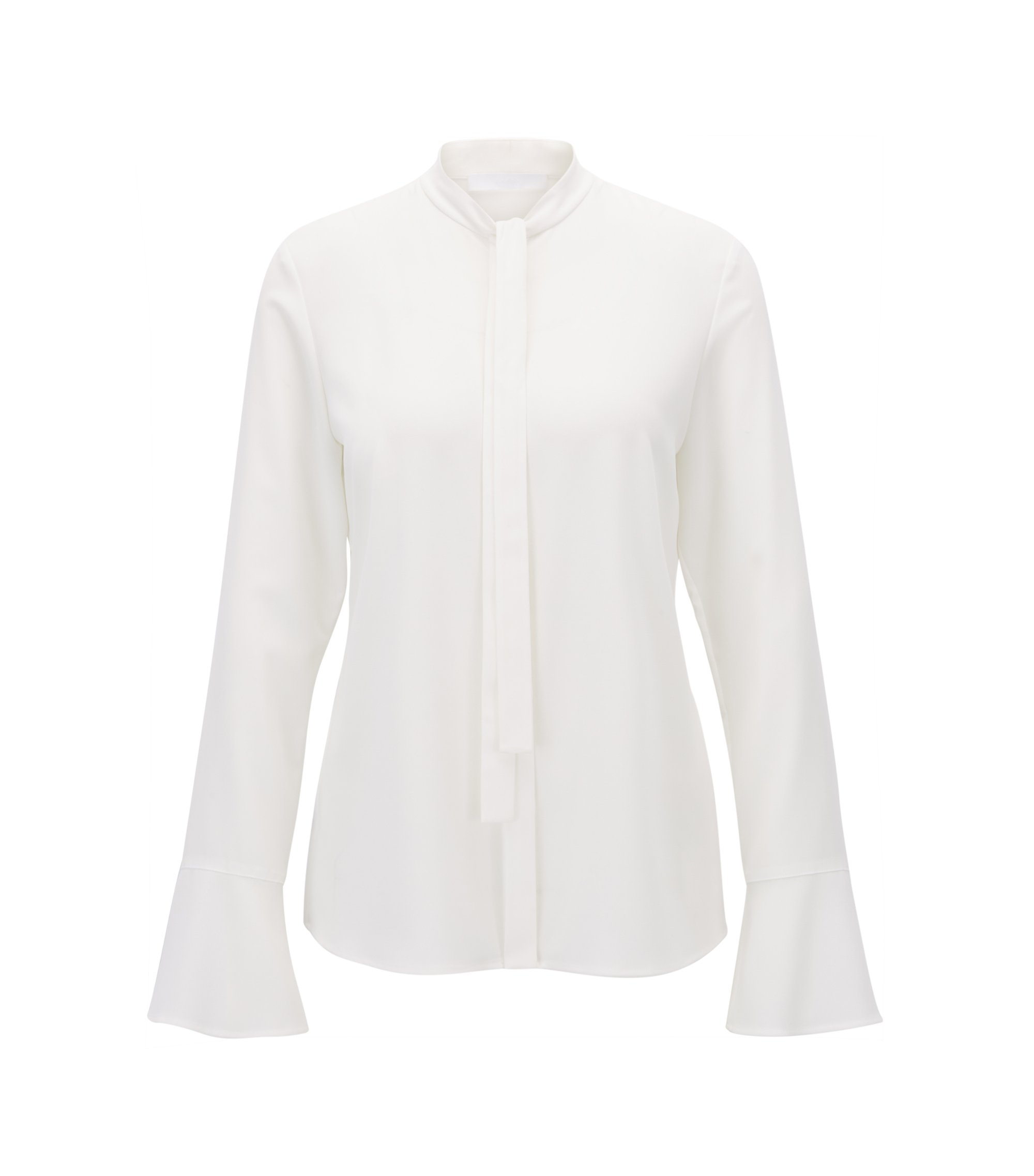 Bow-collar blouse in stretch crinkled crepe, Natural
