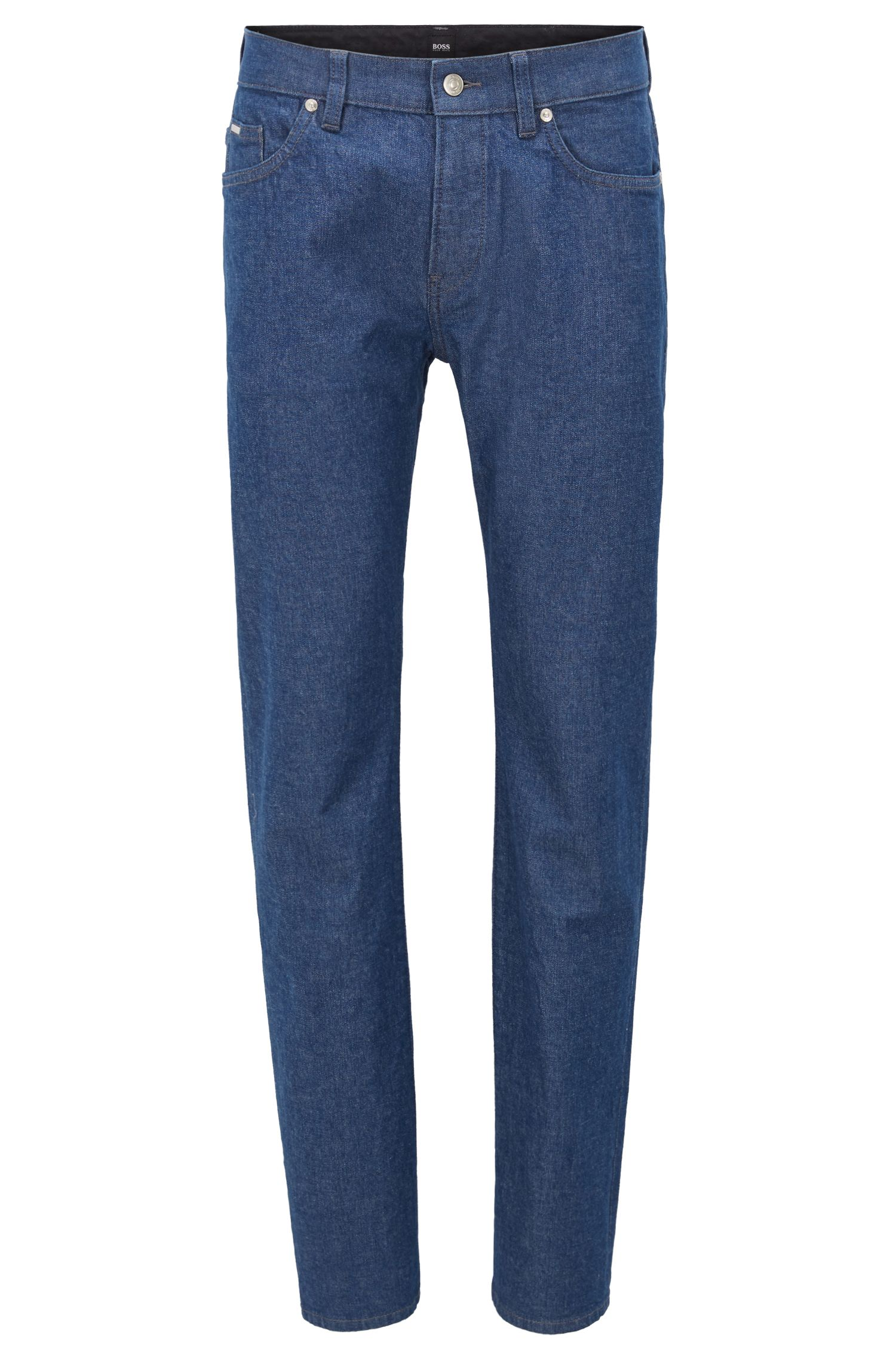 Jean Slim Fit en denim stretch stone-washed, Bleu foncé