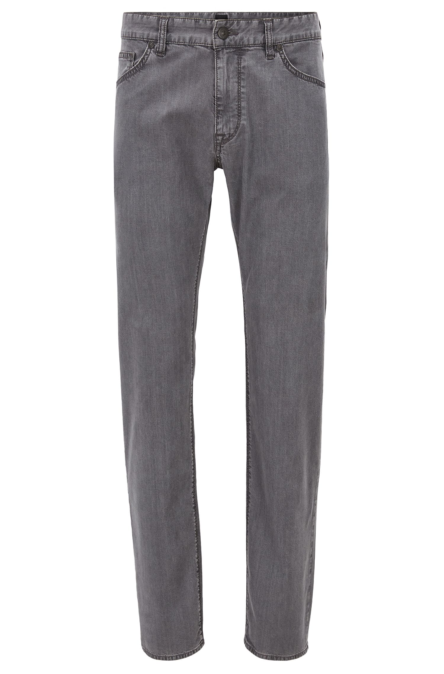Regular-fit jeans in super-lightweight grey stretch denim, Grey