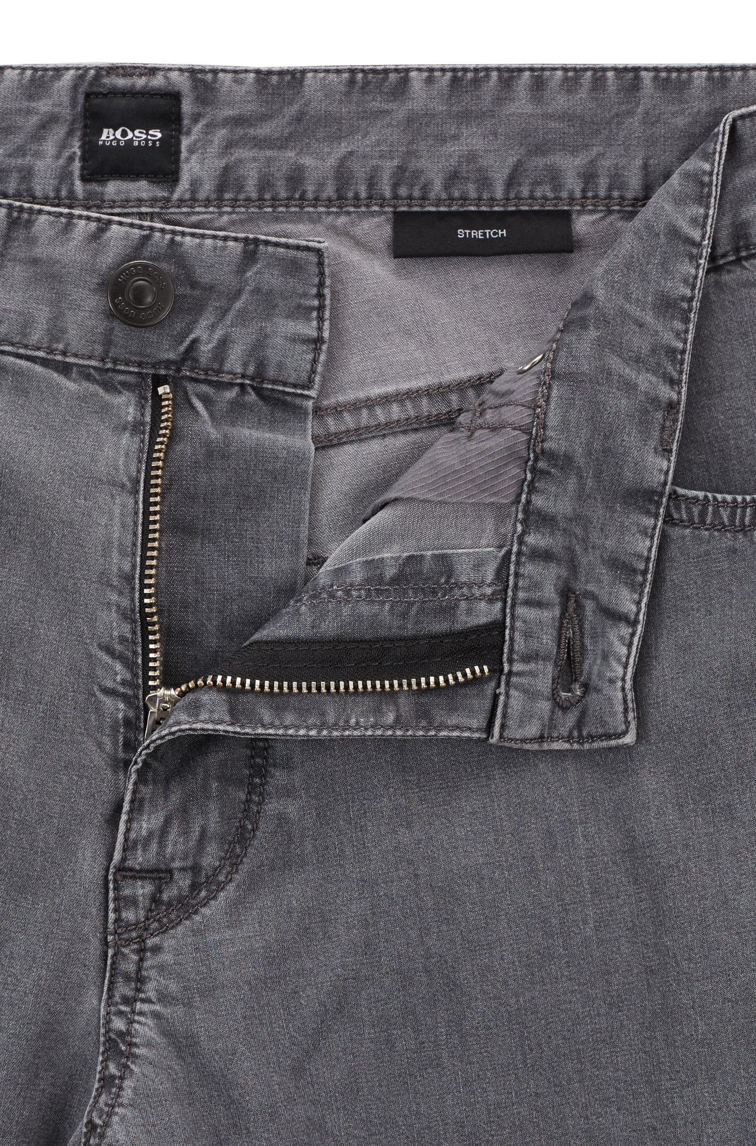 Regular-fit jeans van superlicht grijs stretchdenim