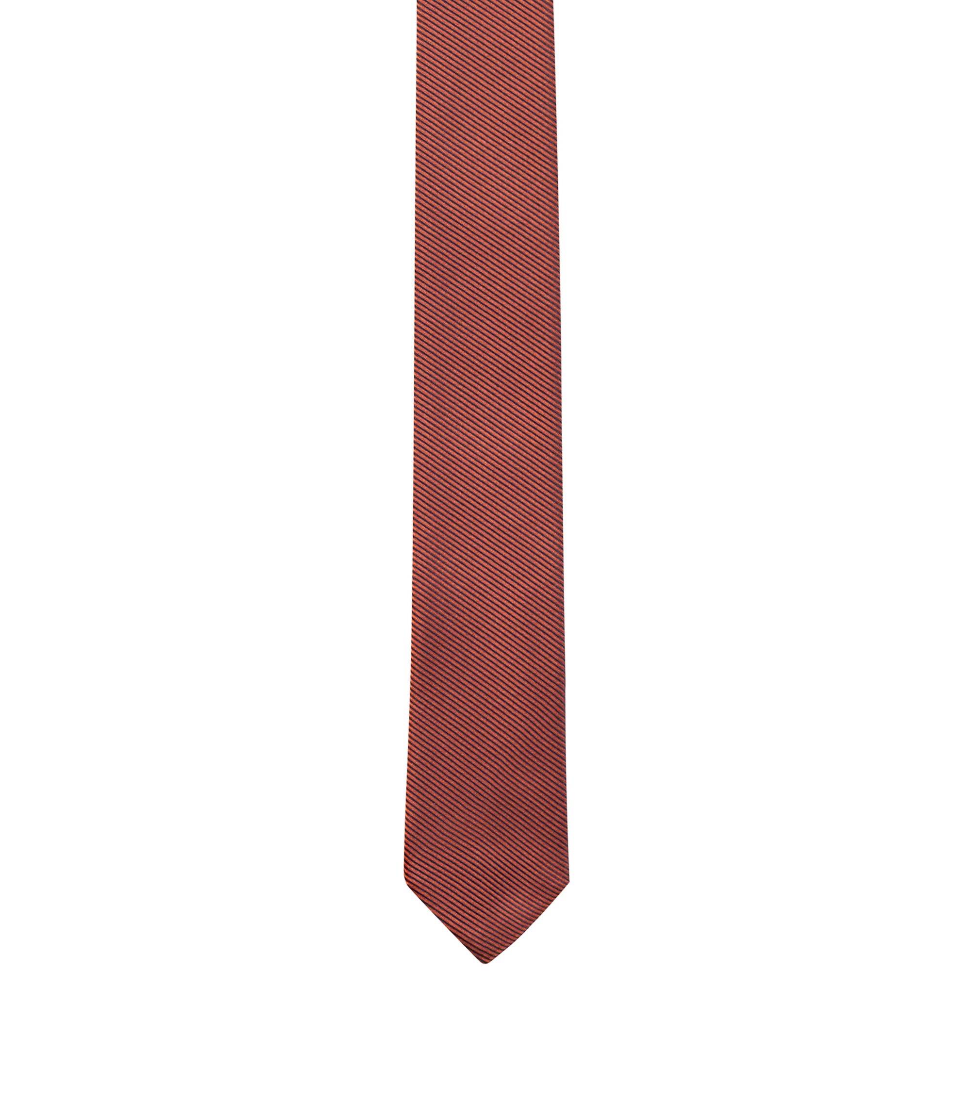 Narrow silk-jacquard tie with diagonal stripes, Orange