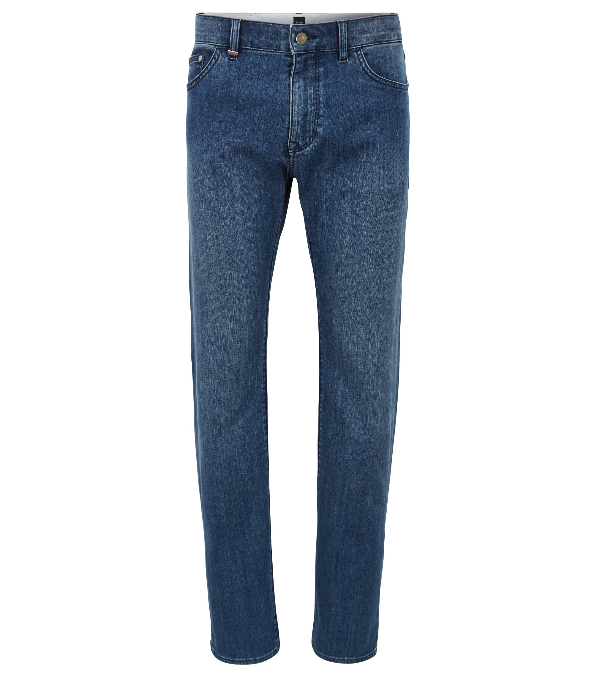 Jean Regular Fit en denim stretch bleu foncé, Bleu