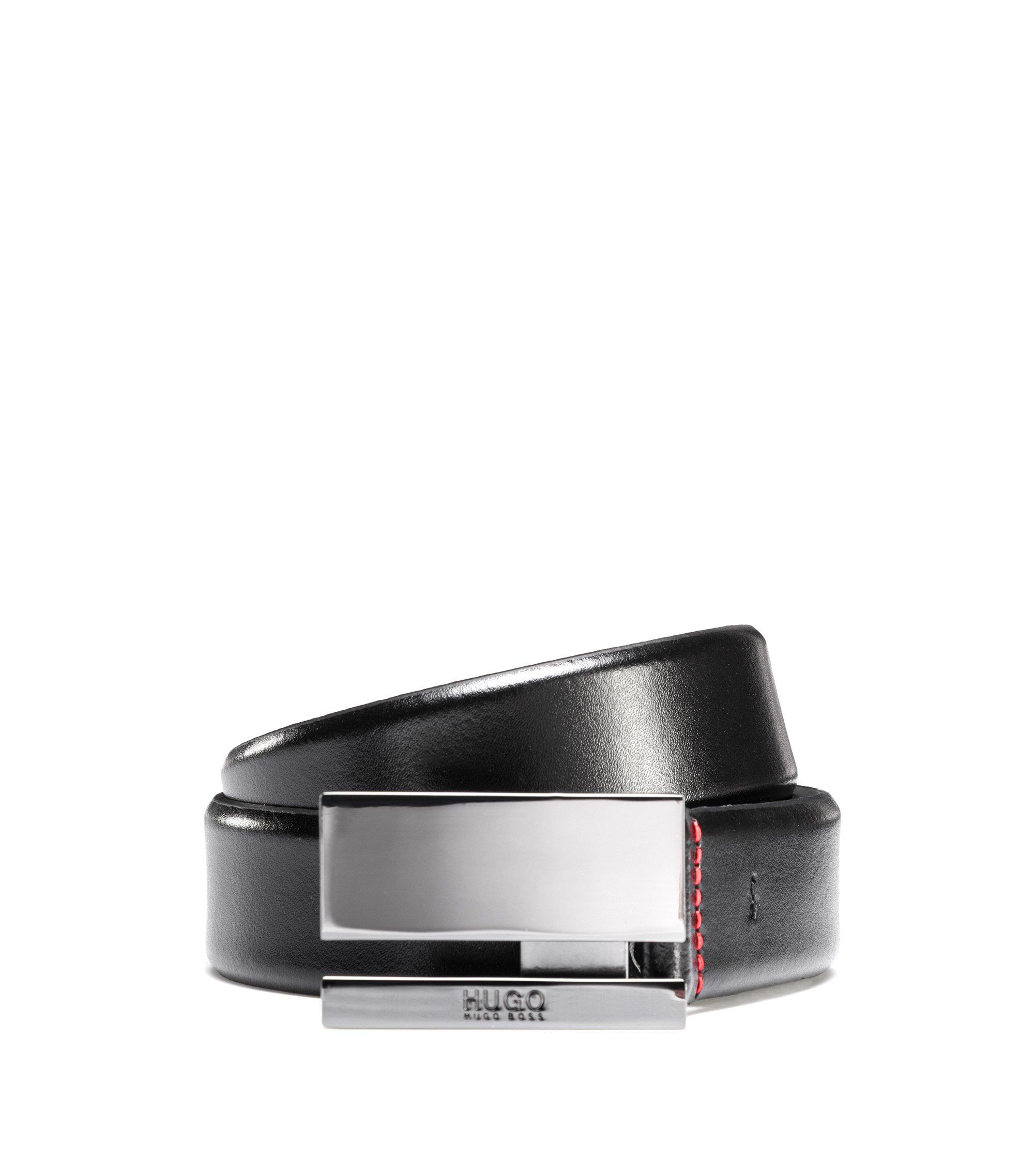 Gürtel aus Glattleder mit polierter Koppelschließe aus Metall, Schwarz