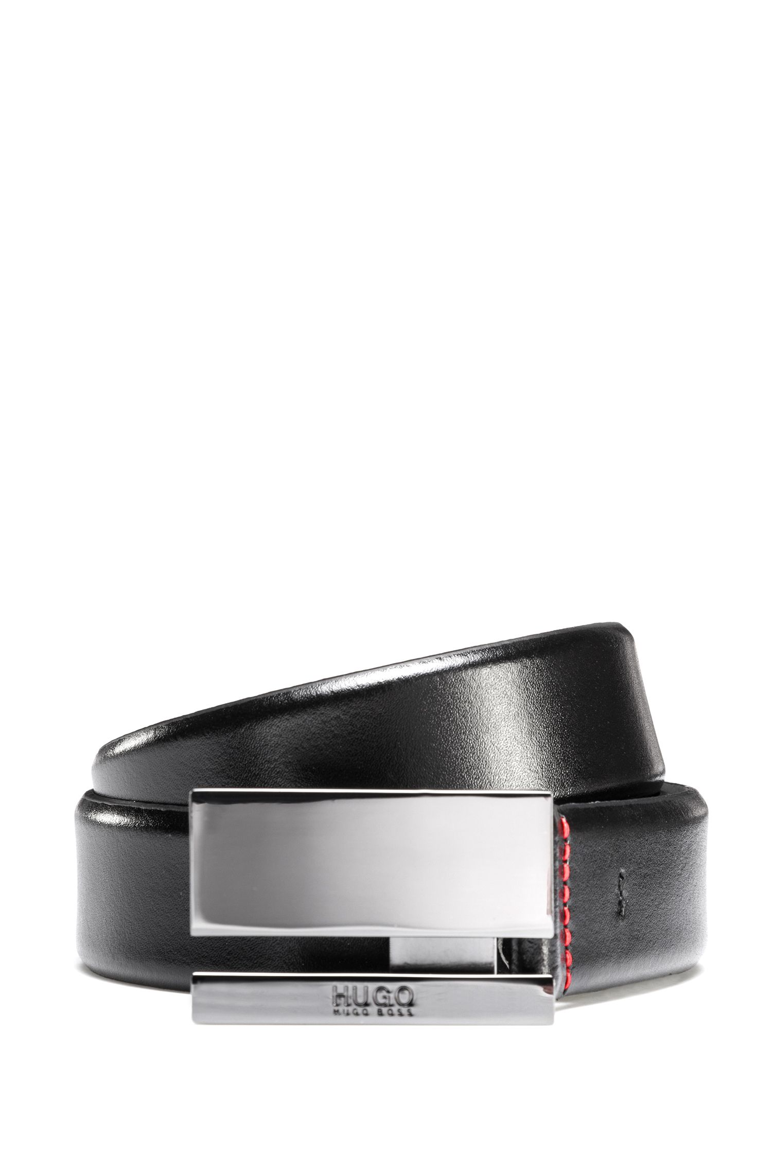 Smooth leather belt with polished gunmetal plaque buckle, Black