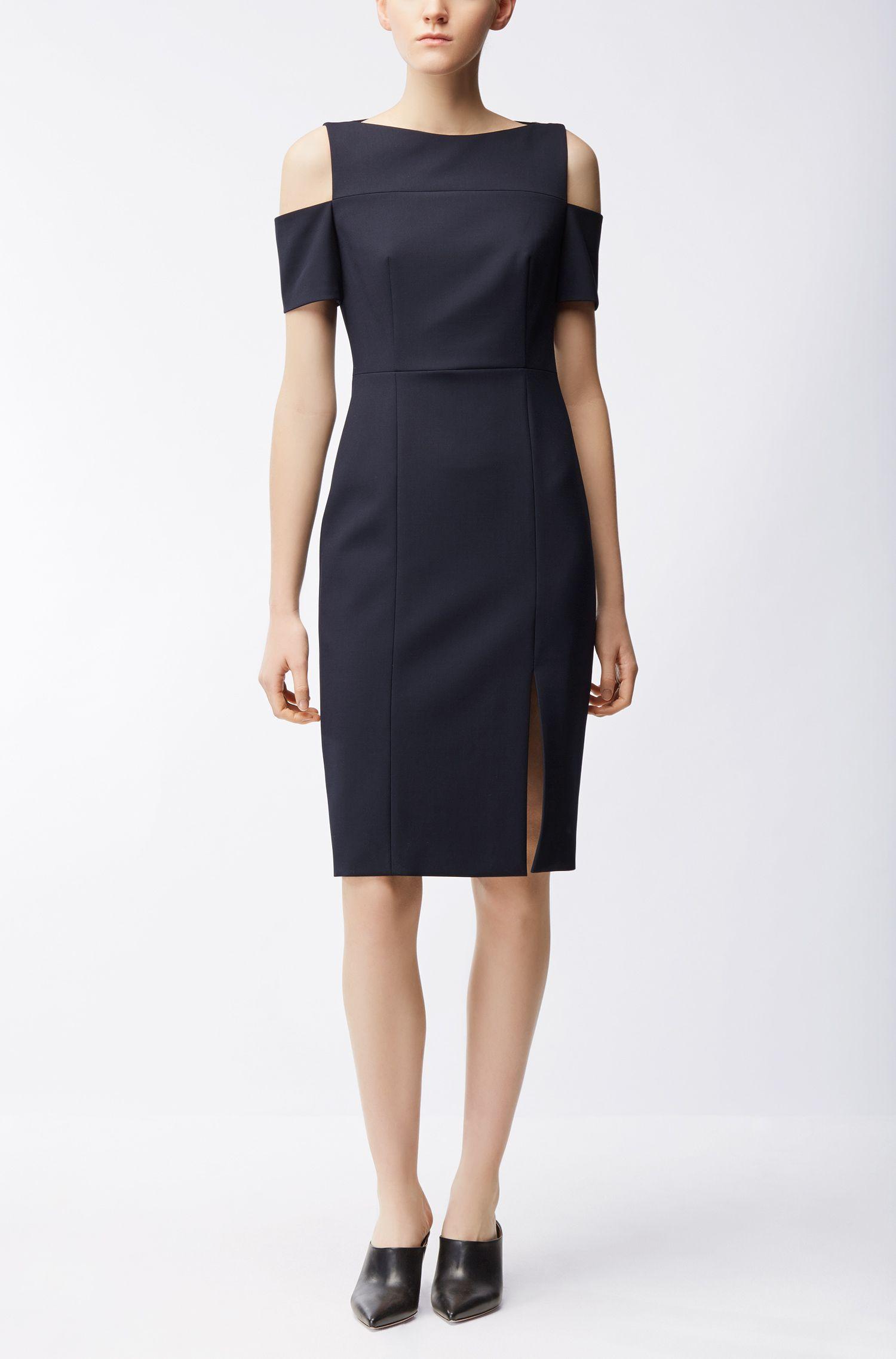 Schouderloze jurk van lichte crêpe