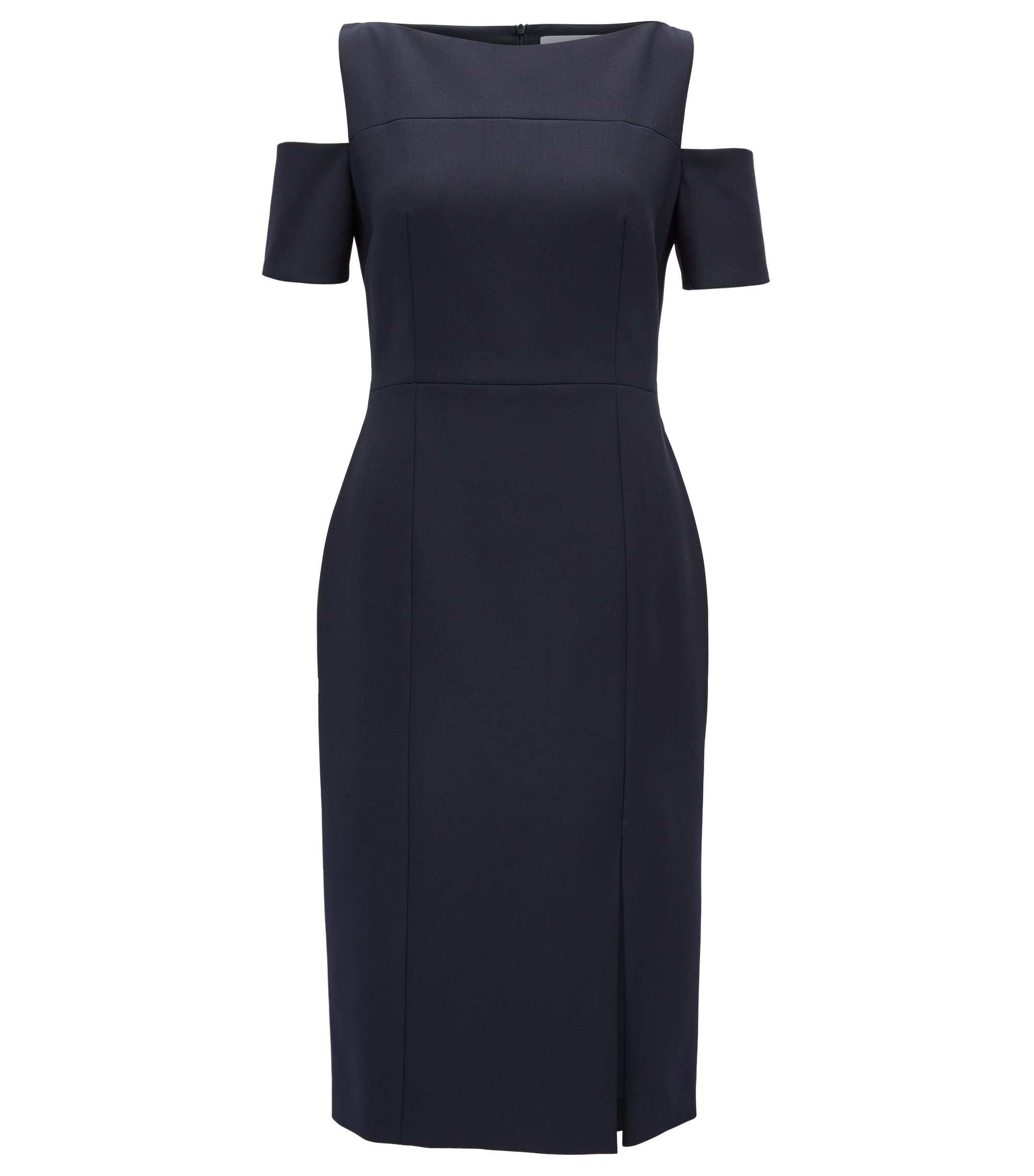 Cold-shoulder dress in lightweight crêpe, Dark Blue