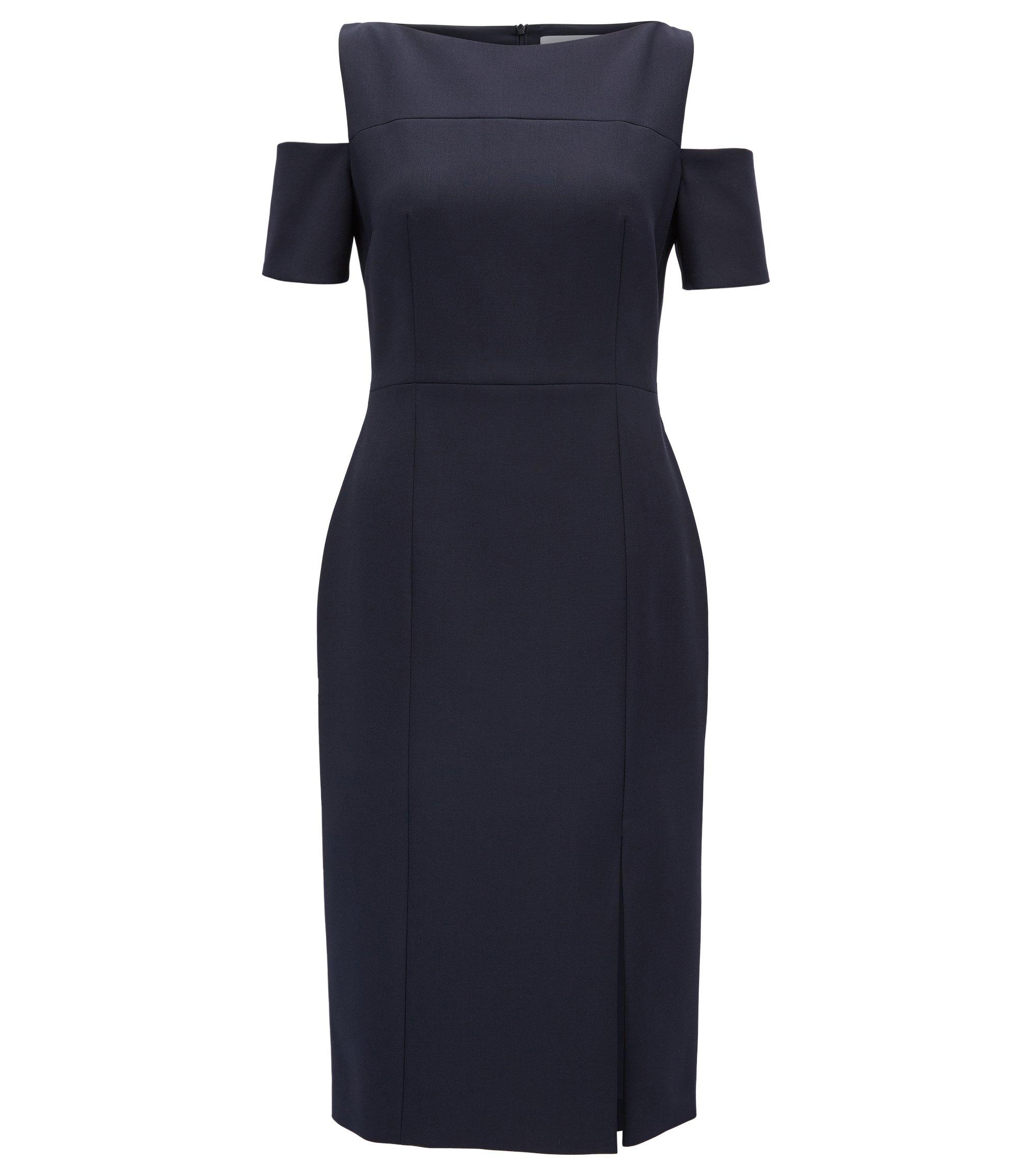 Schouderloze jurk van lichte crêpe, Donkerblauw