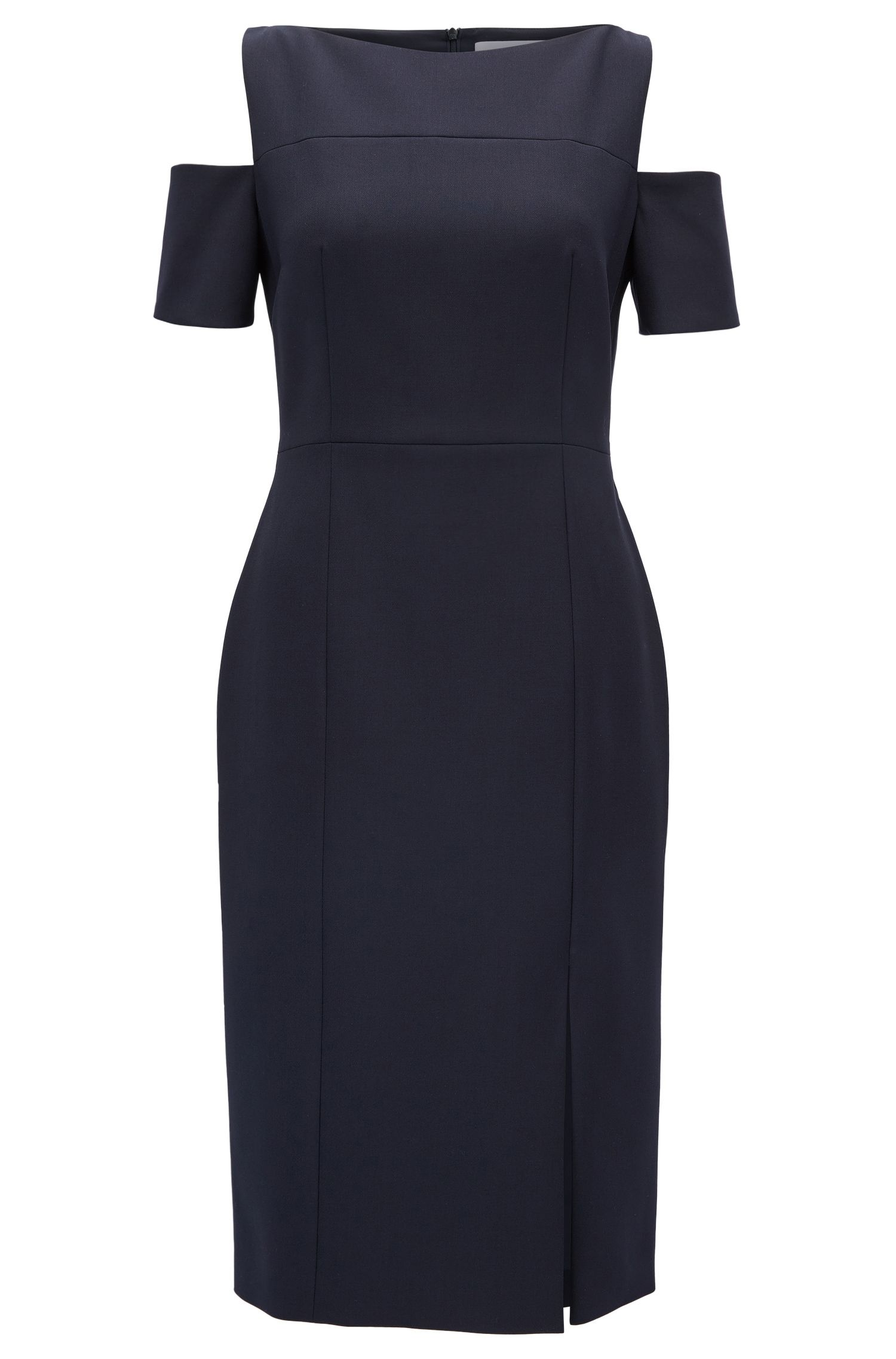Schulterfreies Kleid aus leichtem Krepp