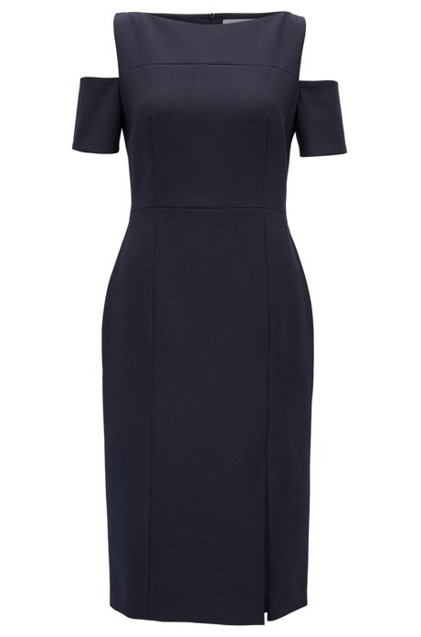 Discount Footaction Knock Off Cold-shoulder dress in lightweight crêpe BOSS ORDeqwq