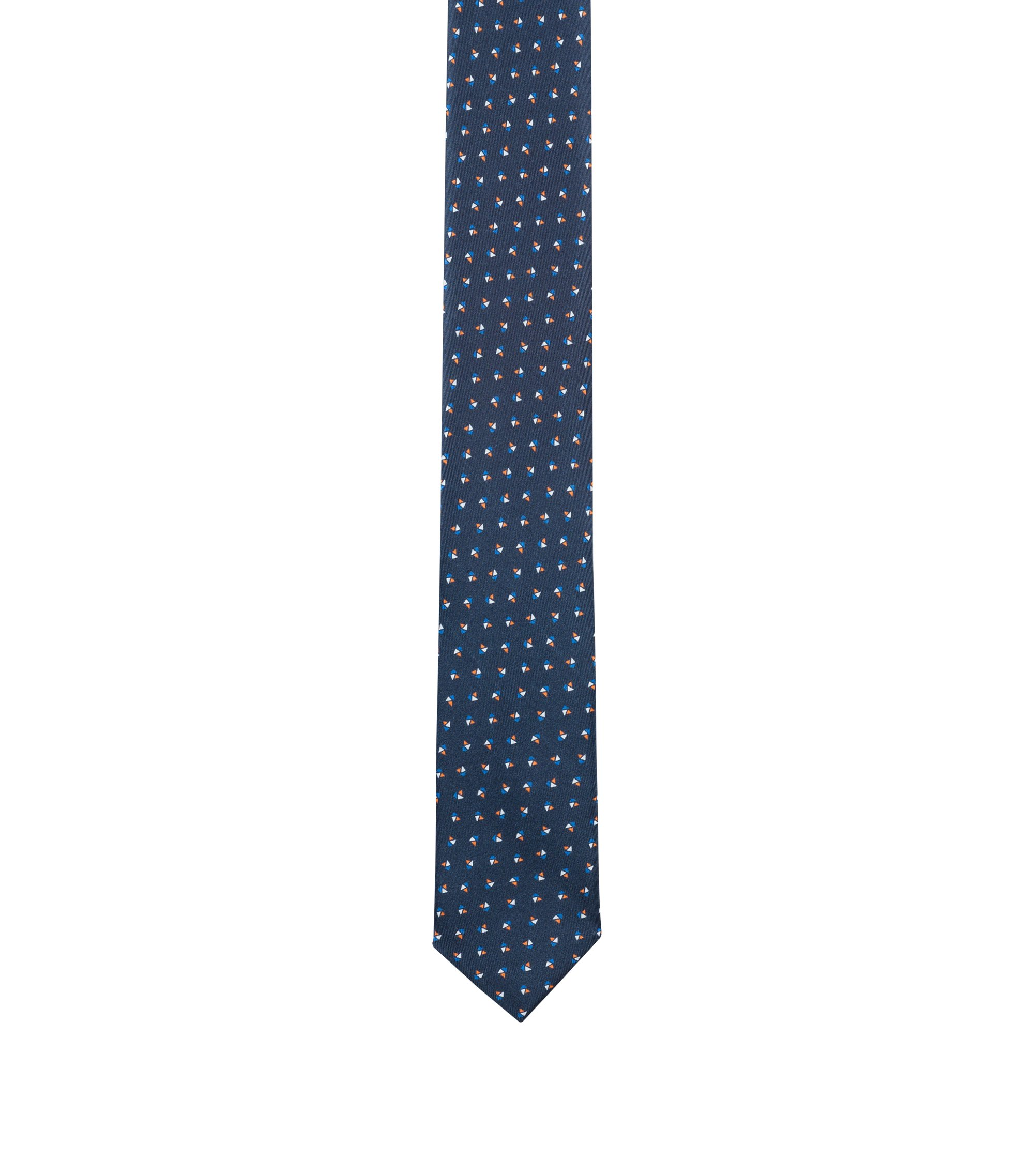 Printed tie in silk twill, Orange
