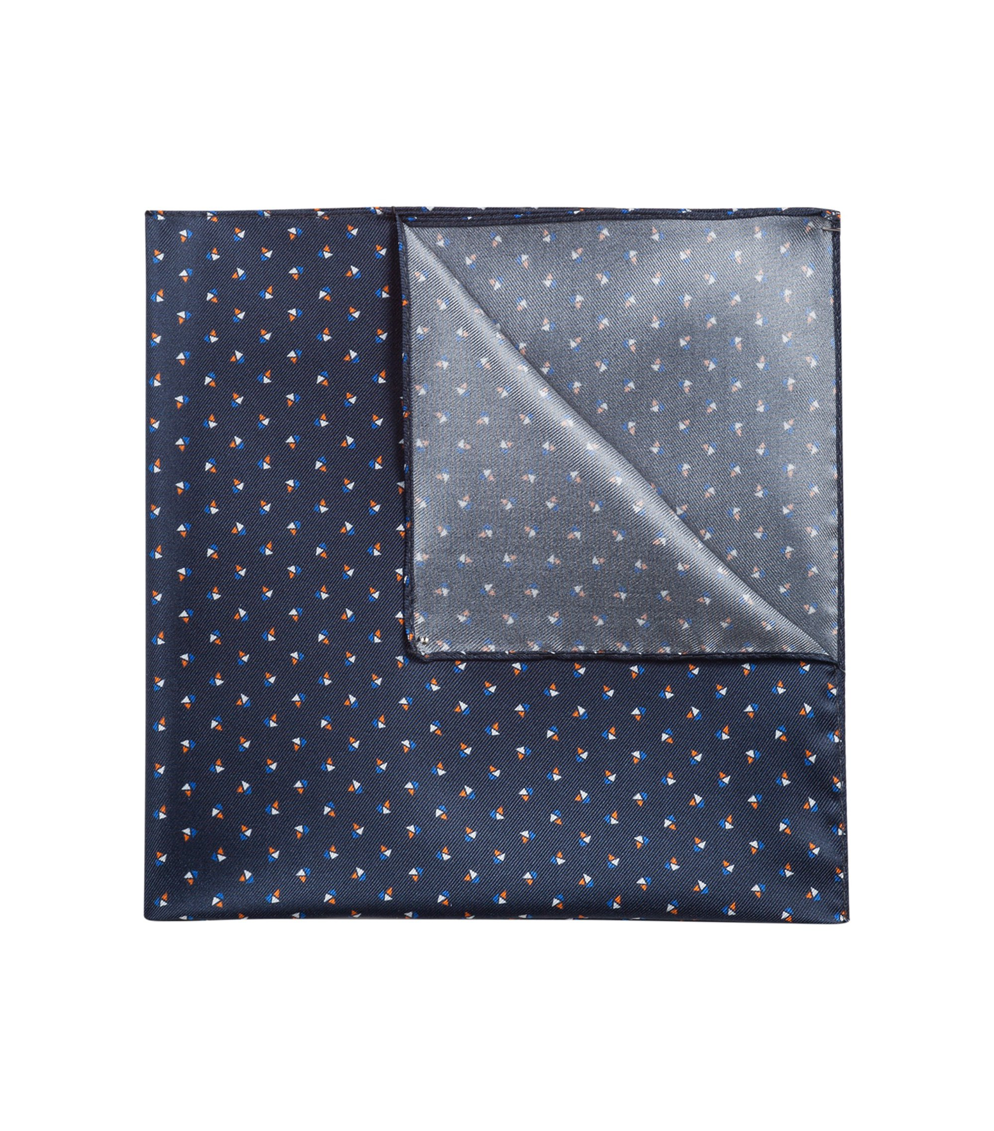 Hawaiian skeletons printed pocket square in silk twill HUGO BOSS
