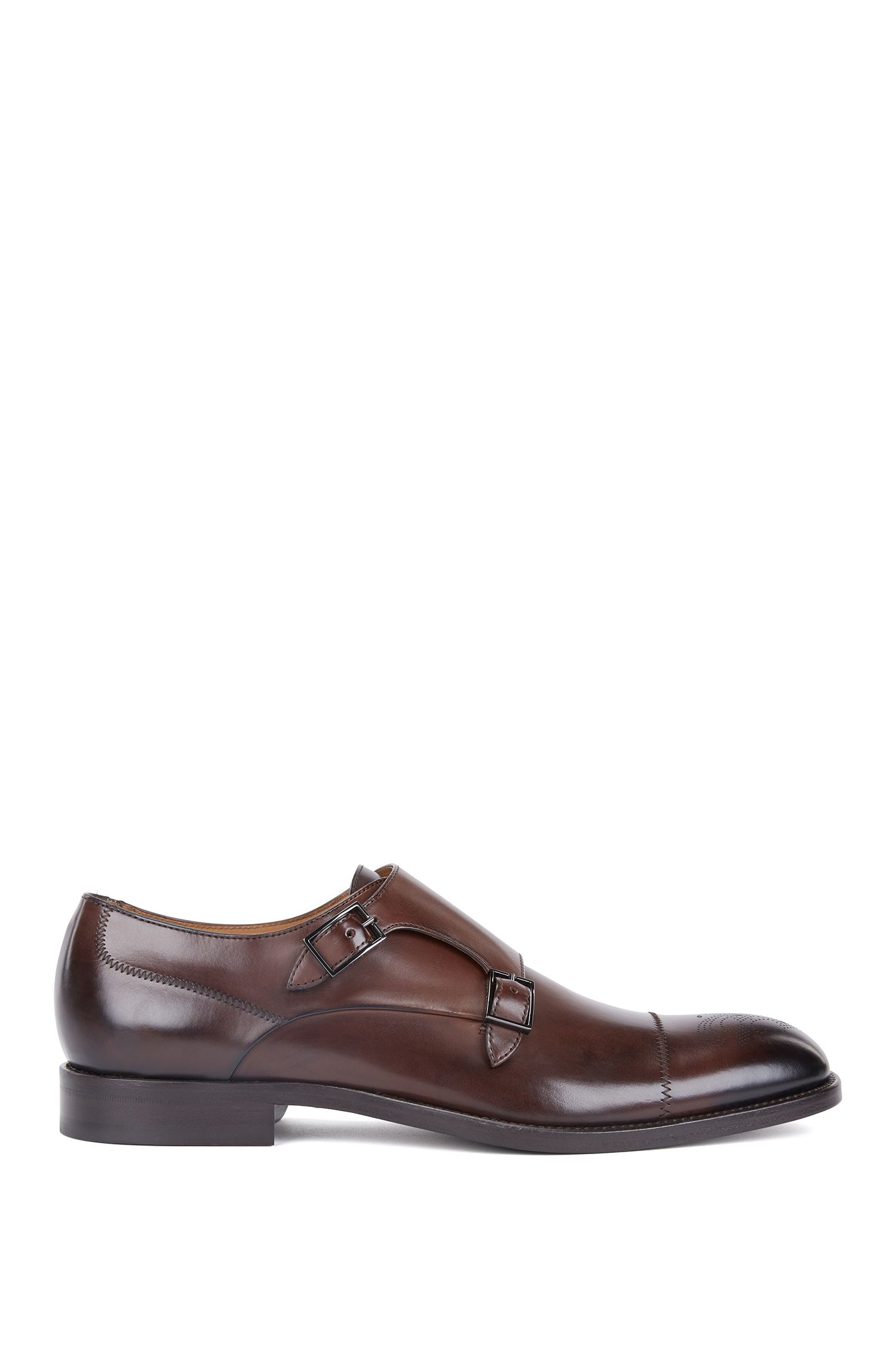 Polished calf-leather shoes with double monk strap, Dark Brown