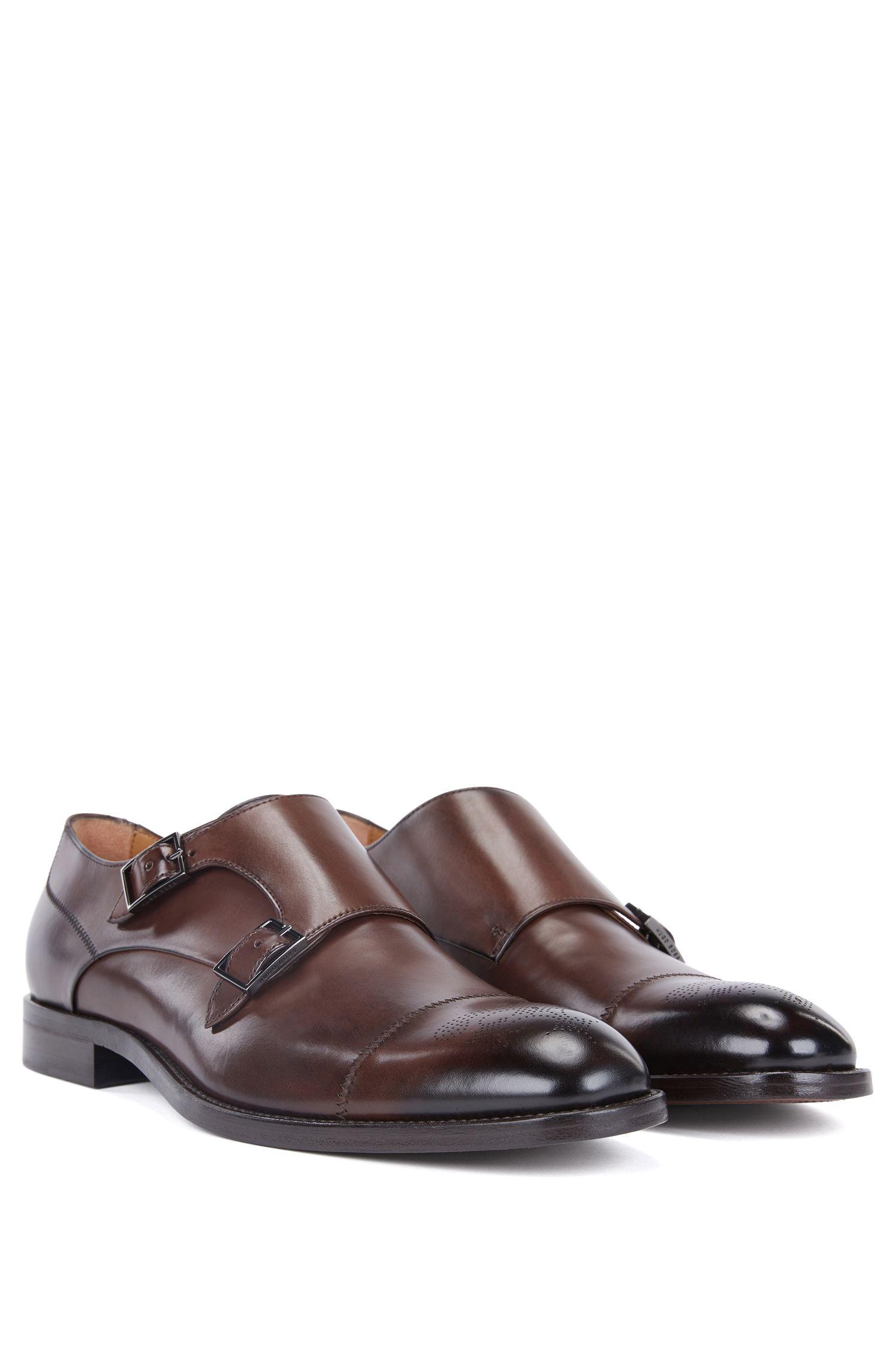 Chaussures en cuir de veau poli à double bride