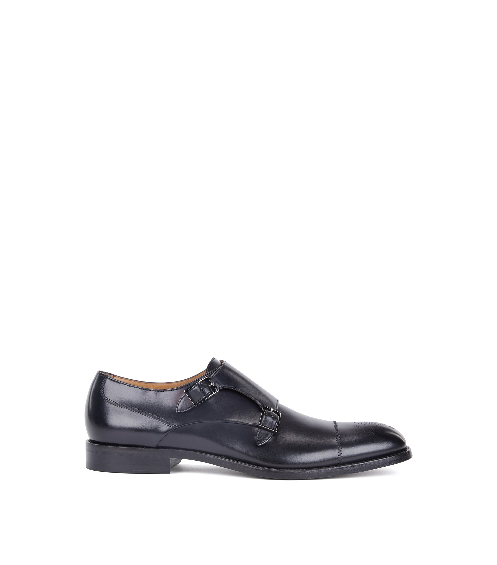 Polished calf-leather shoes with double monk strap, Dark Blue