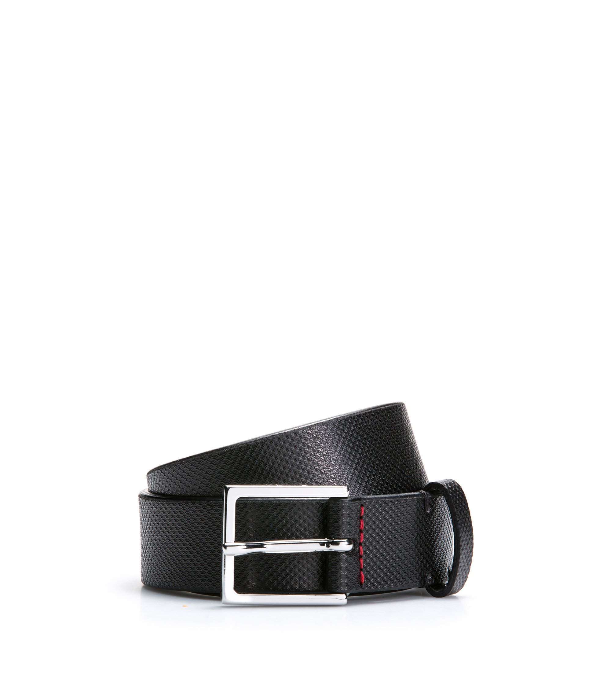 Leather belt with embossed detailing, Black