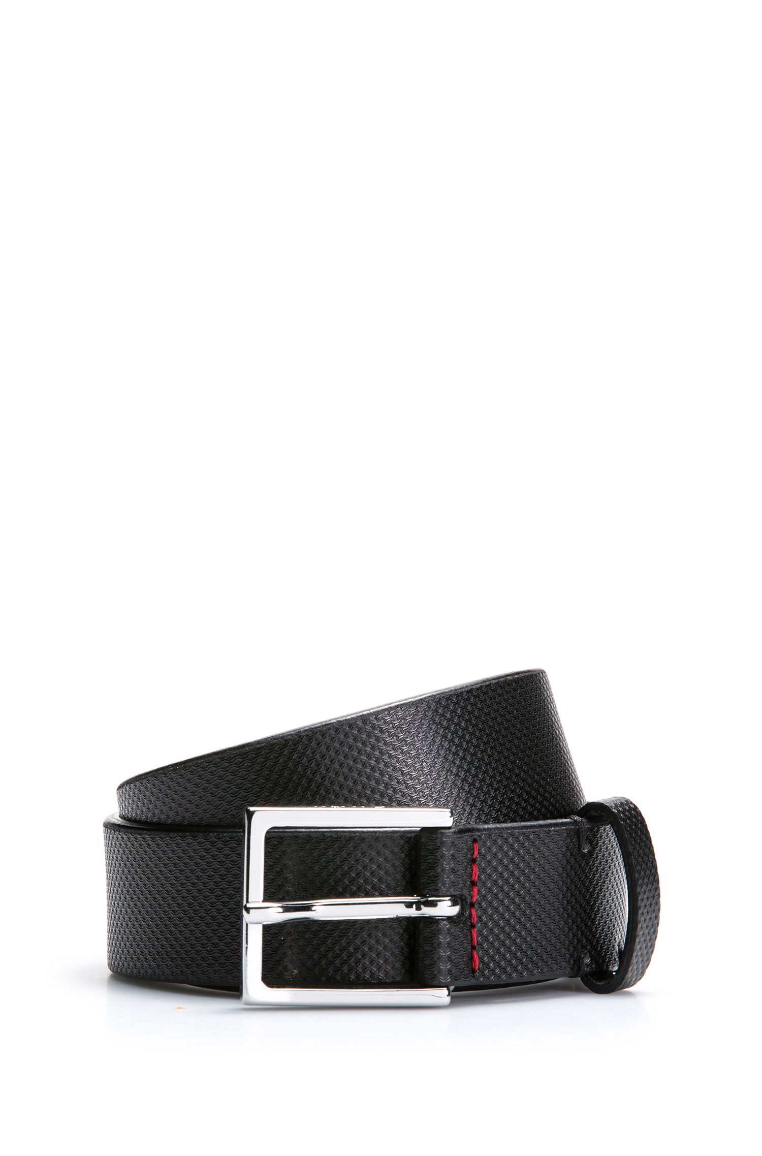 Leather belt with embossed detailing