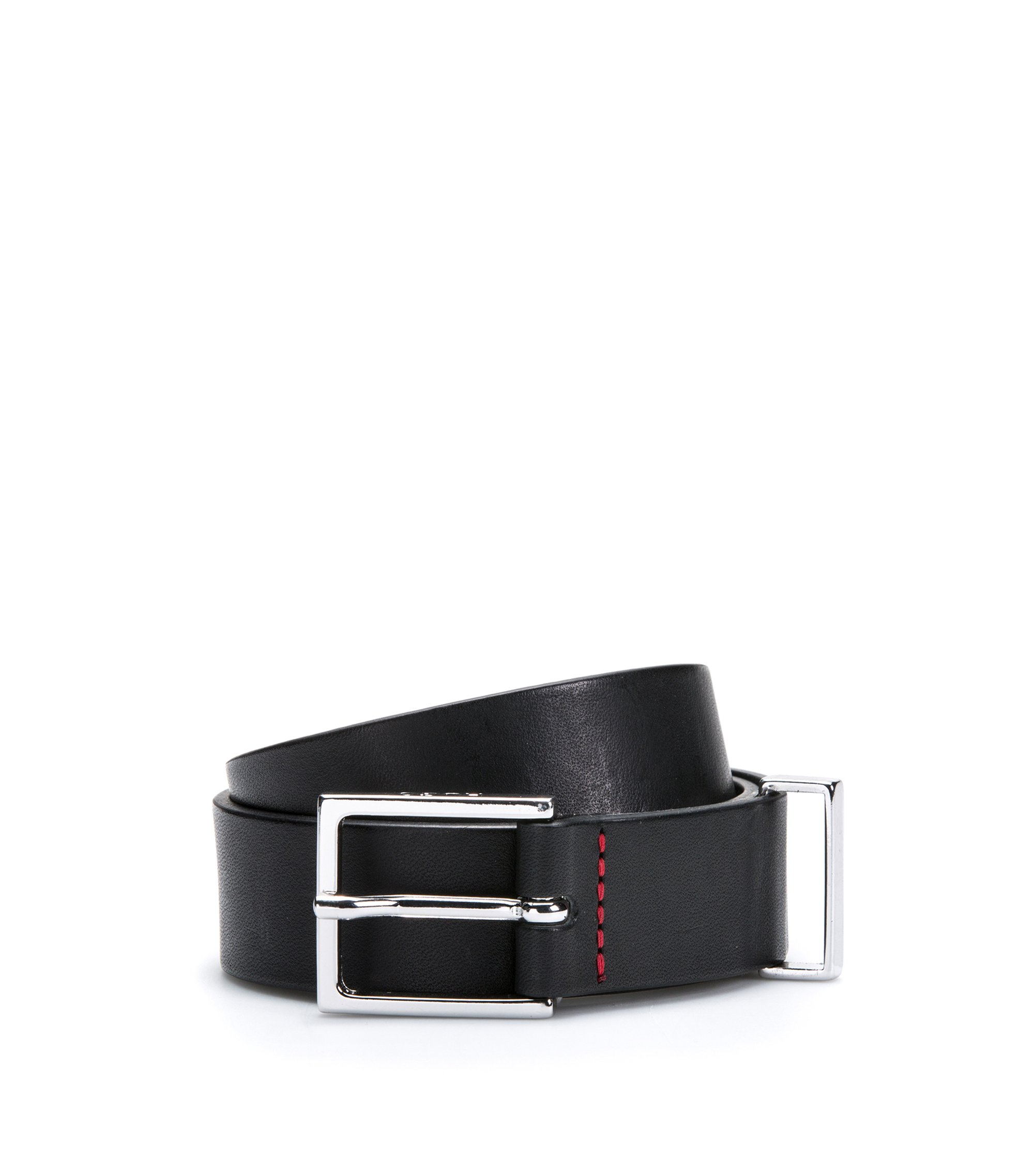 Smooth-leather belt with polished metal hardware, Black