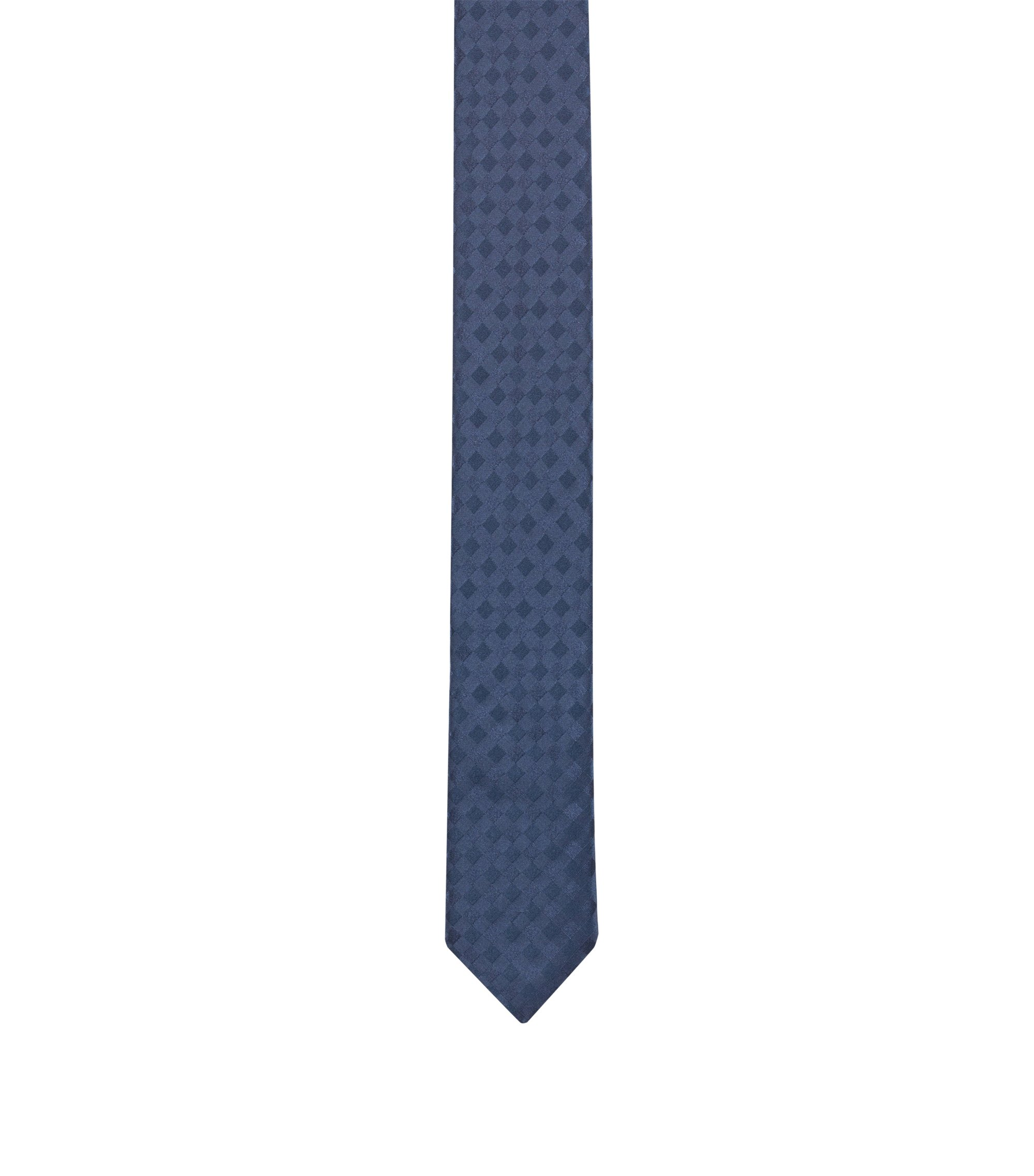 Cravate en jacquard de soie, ornée d'un motif à carreaux uni ton sur ton, Bleu foncé